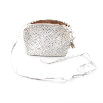 7c89bb8e3f Bottega Veneta Silver Metallic Intrecciato Leather Crossbody