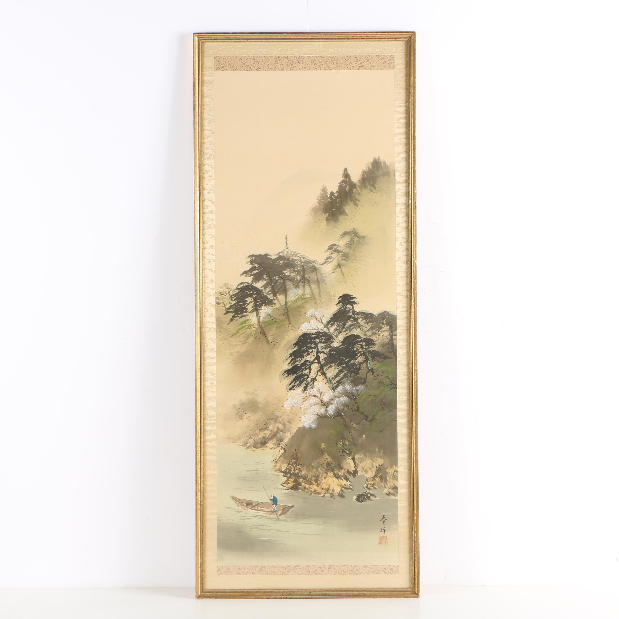 Chinese Watercolor and Gouache Painting on Silk of Chinese Landscape Scene