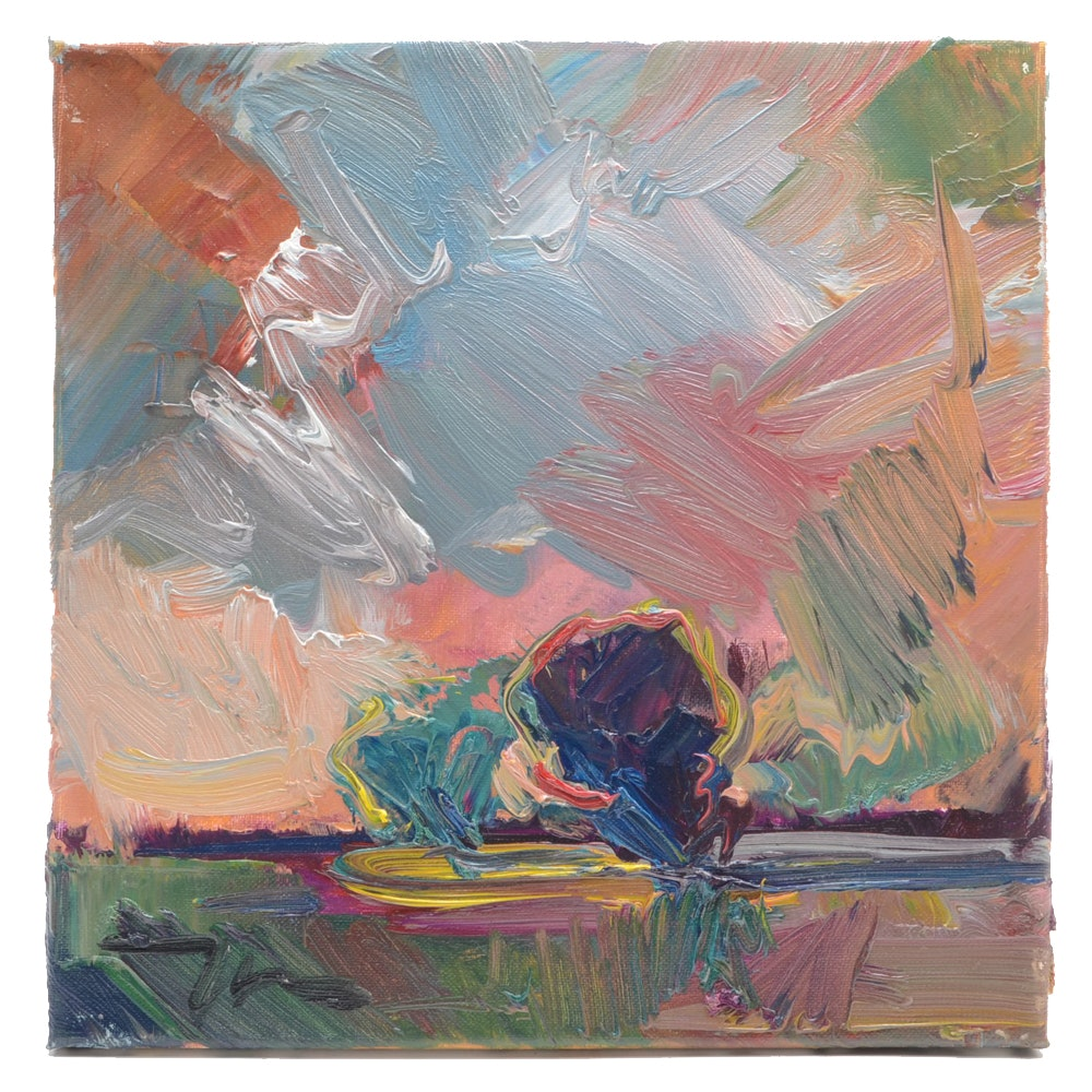 """José Trujillo Impressionist Painting """"Salmon Sails"""""""