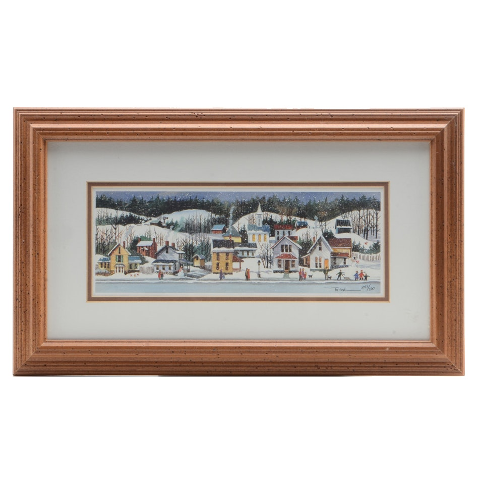 Lu Fuller Limited Edition Offset Lithograph of a Winter Landscape