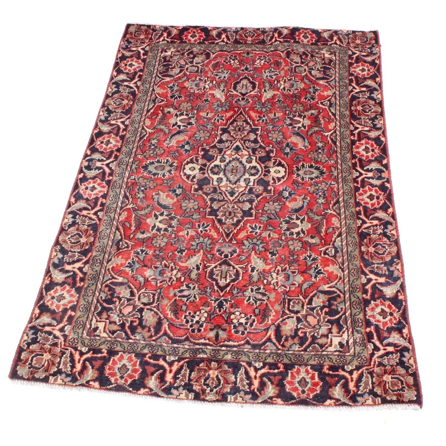 Hand Knotted Persian Wool Area Rug Ebth: Semi-Antique Hand-Knotted Persian Kashan Rug