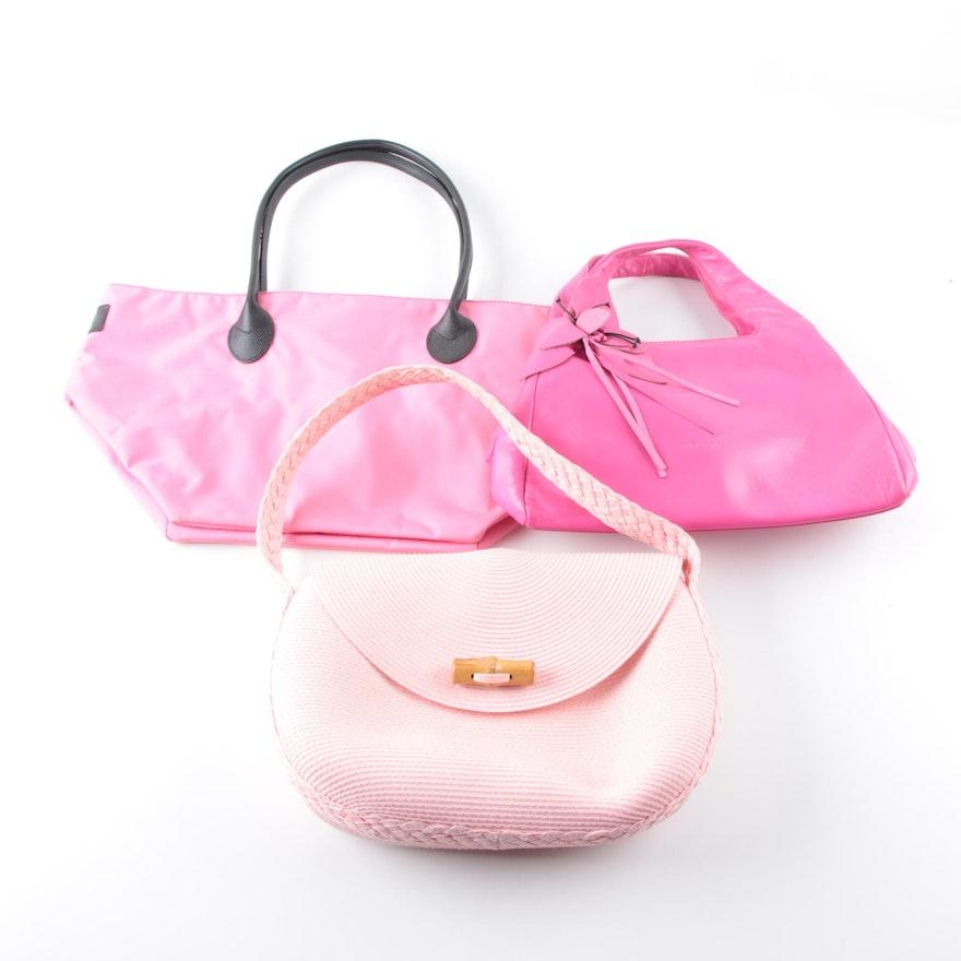 Pink Handbags And Nylon Tote Including Paolo Masi