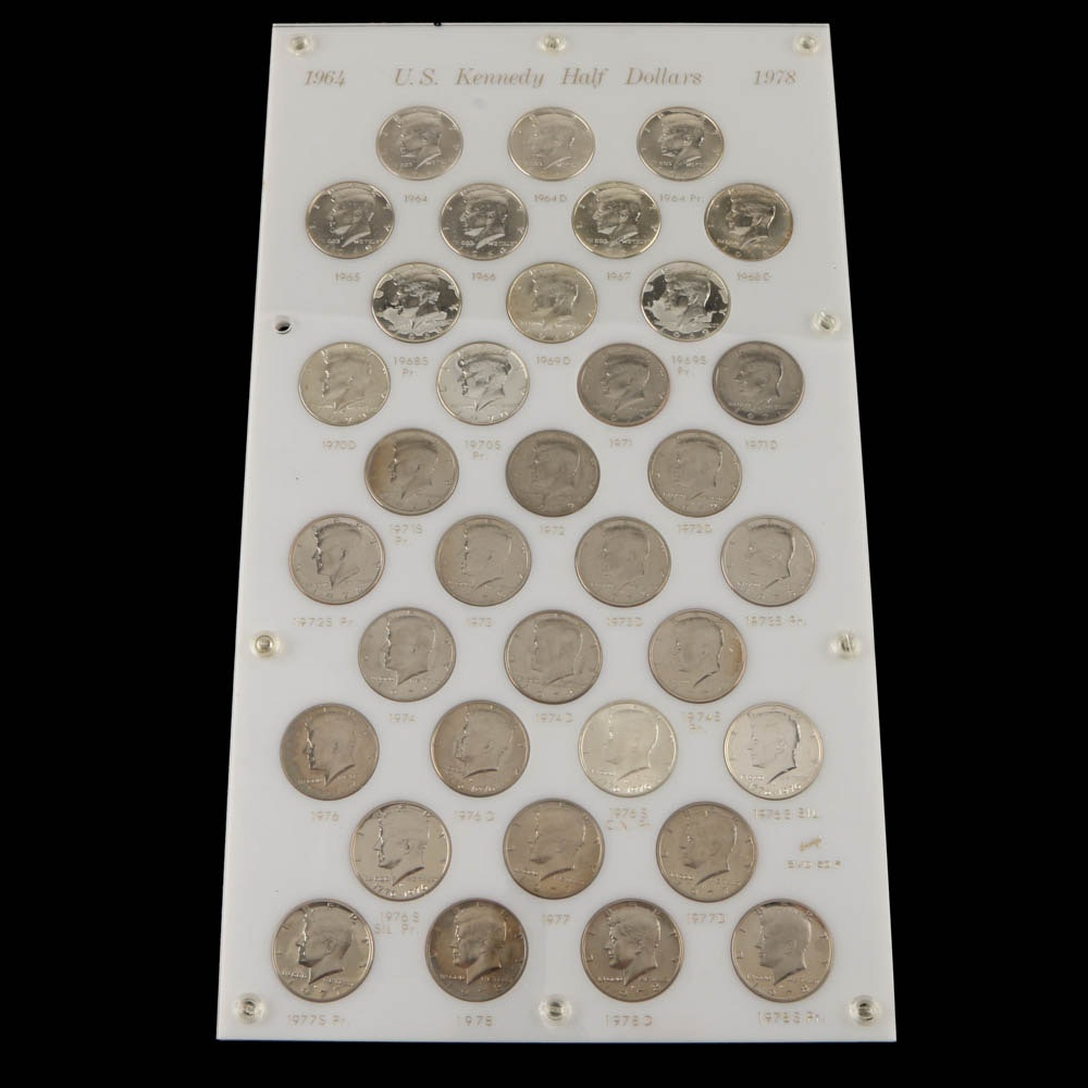 1964 to 1978 Kennedy Half Dollar Uncirculated and Proof Collection