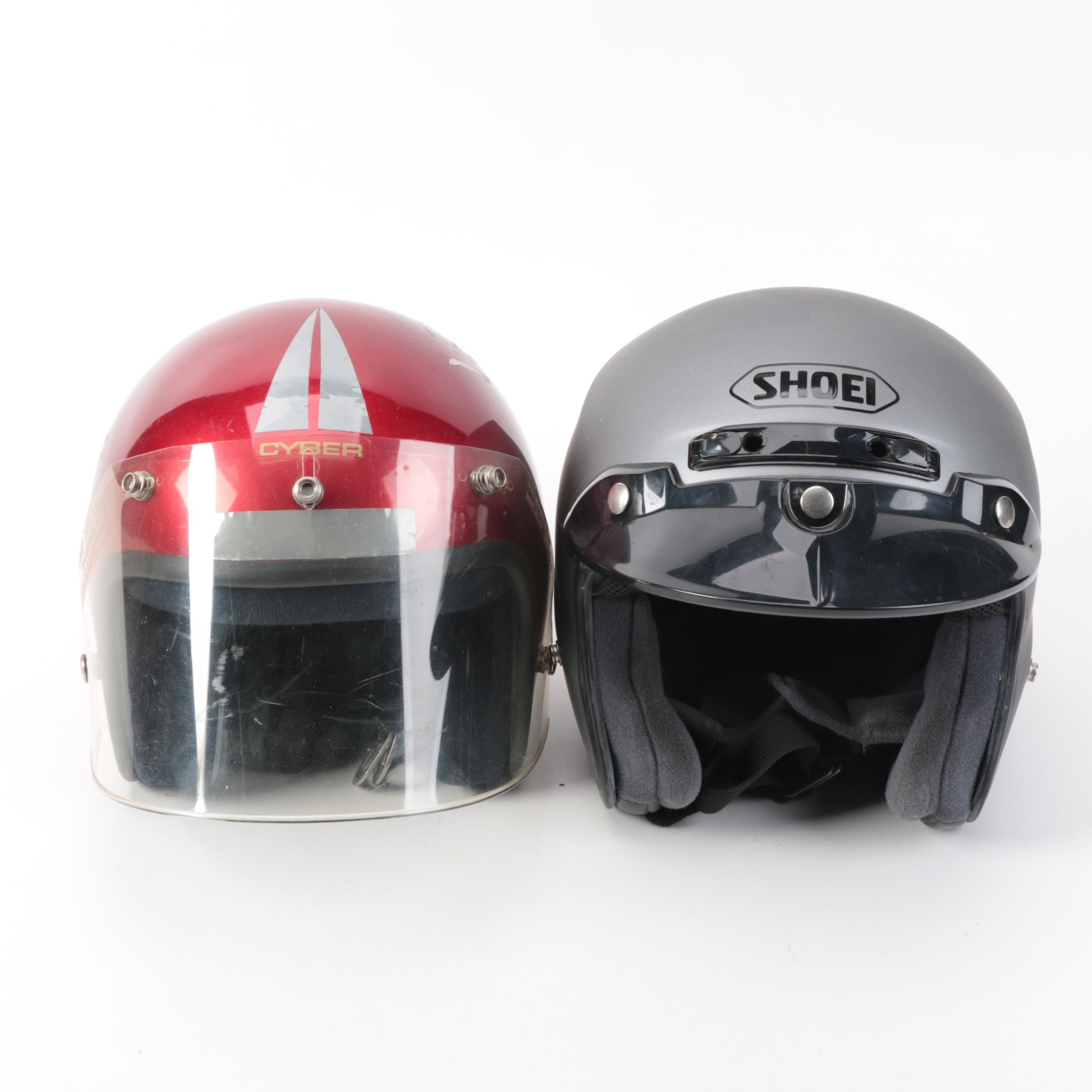 Cyber and Shoei Motorcycle Helmets