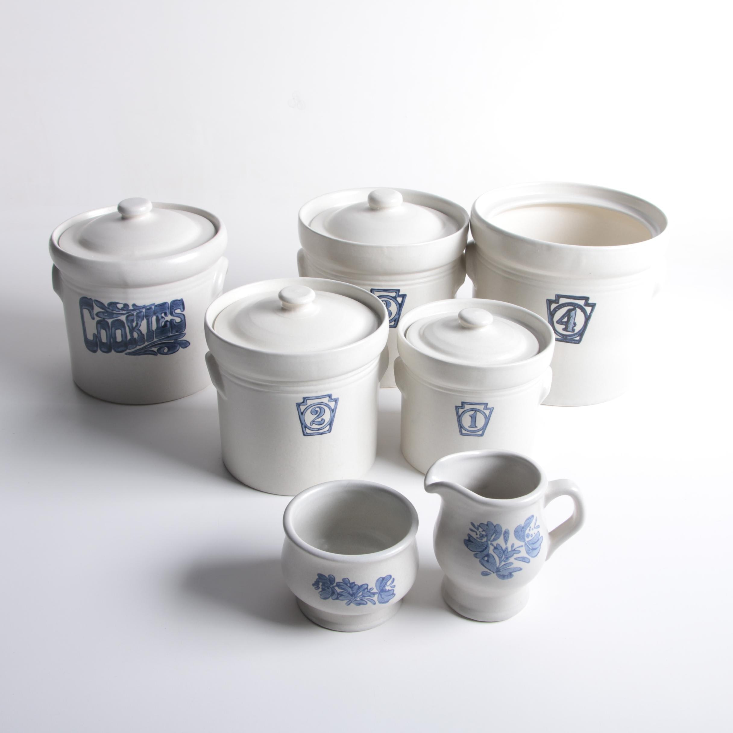"Pfaltzgraff ""Yorktowne"" Stoneware Kitchen Canisters and Creamer with Sugar"