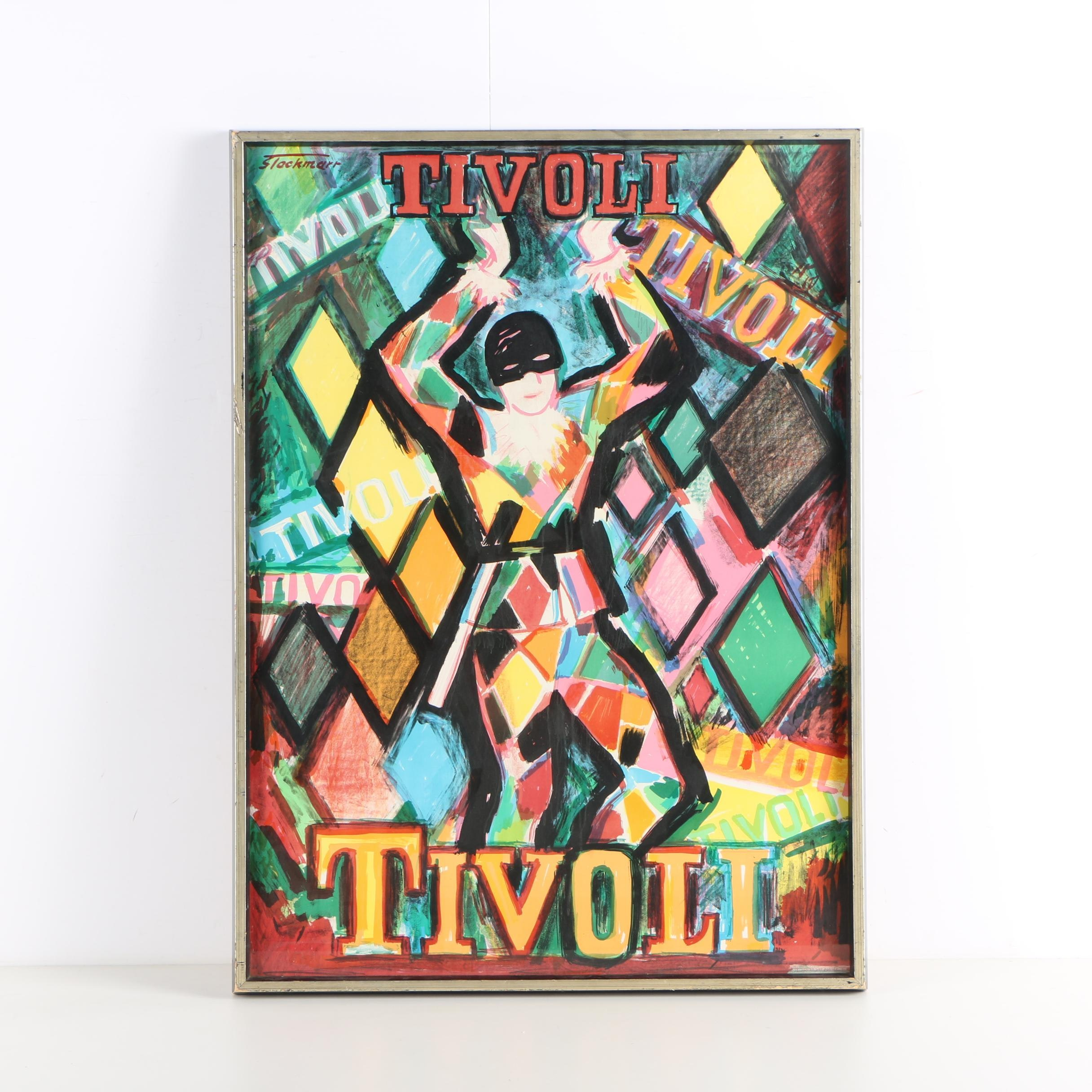 Circa 1960s Lithograph Poster for Denmark's Tivoli Gardens After Erik Stockmarr
