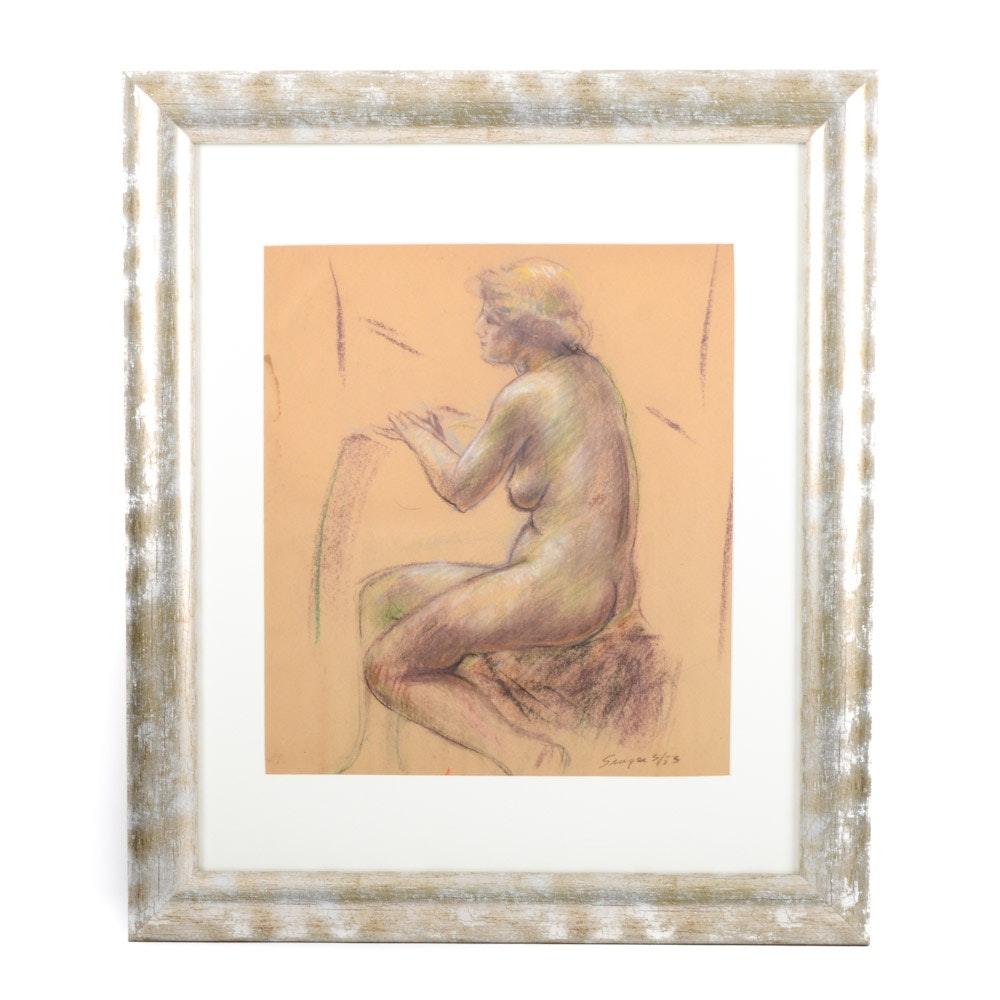 Clyde Singer 1953 Pastel on Paper Nude Woman
