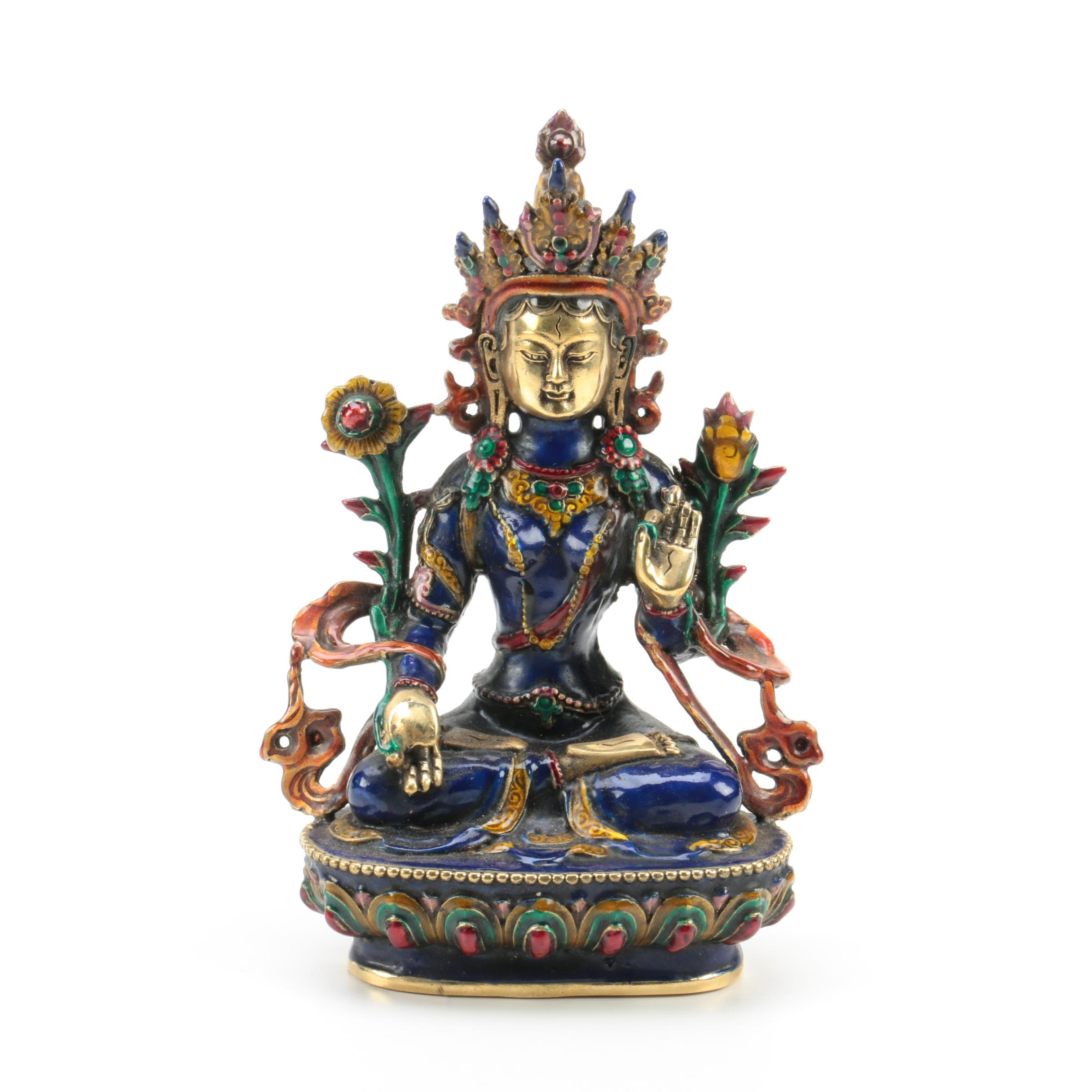 Tibetan Enamel and Metal Blue Tara Statuette