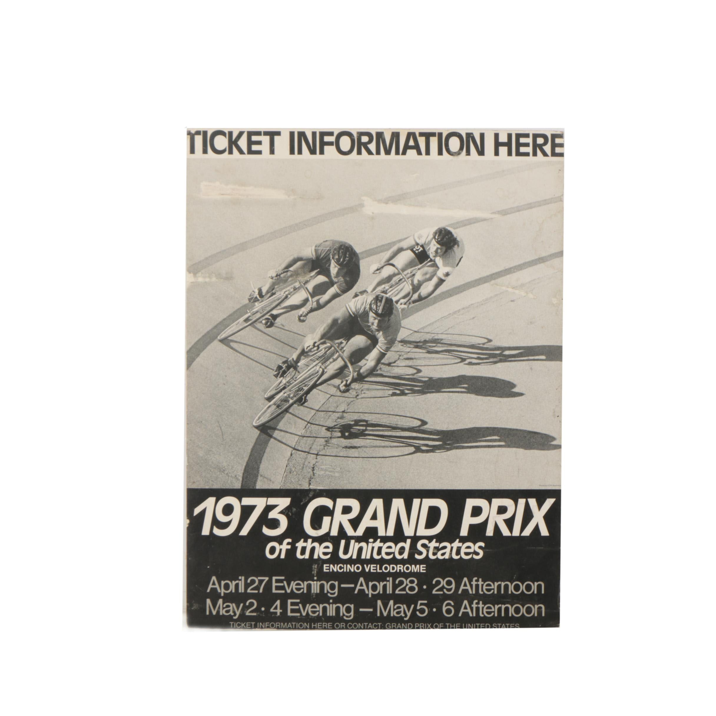 "Halftone Poster for the 1973 Cycling ""Grand Prix of the United States"""