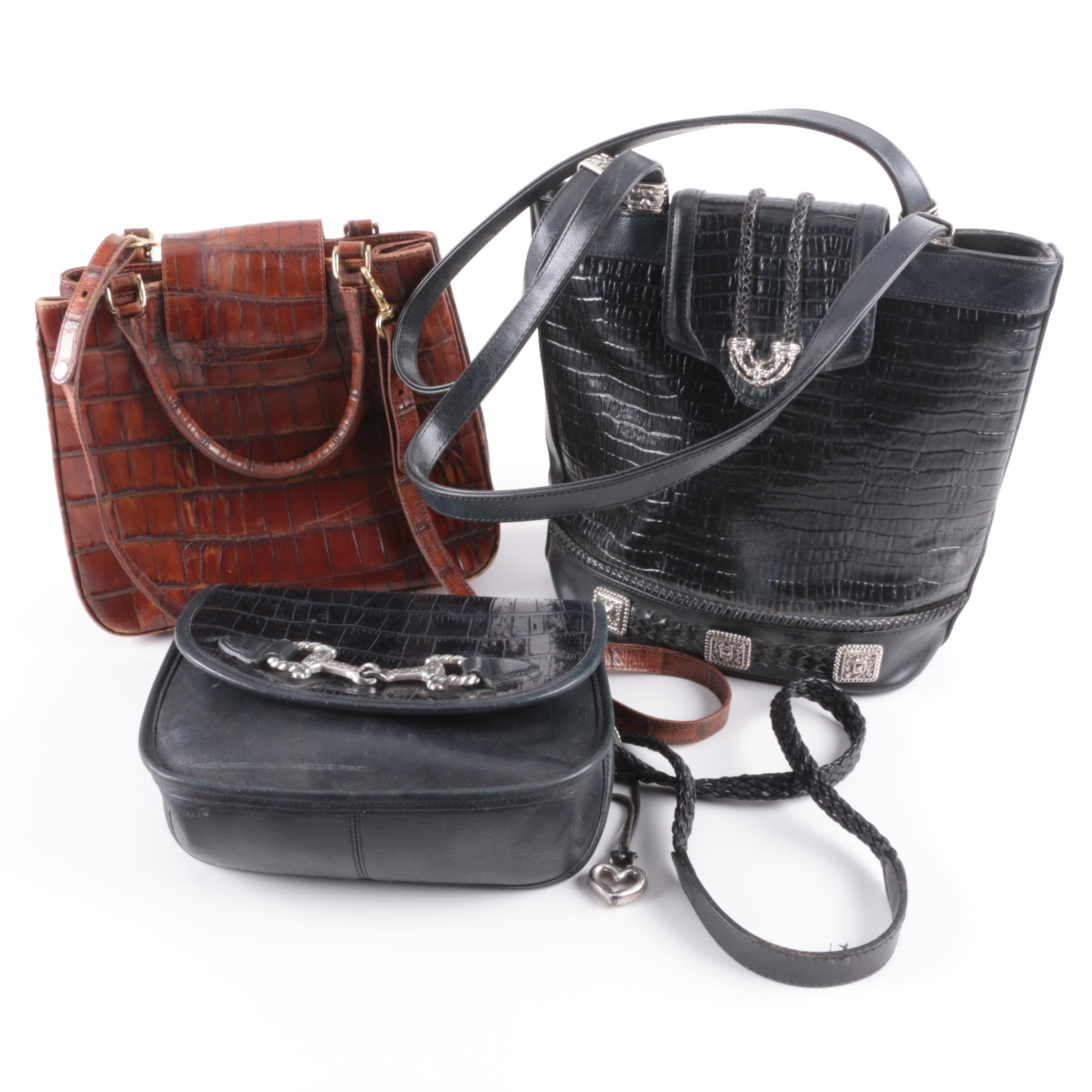Reptile Embossed Leather Handbags Including Brahmin and Brighton