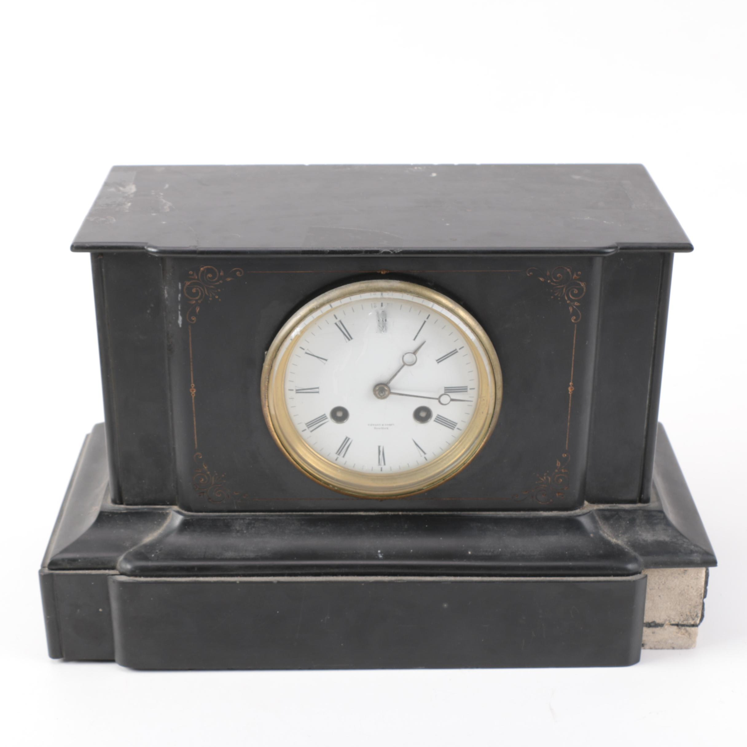 Tiffany & Company Antique Slate Mantel Clock