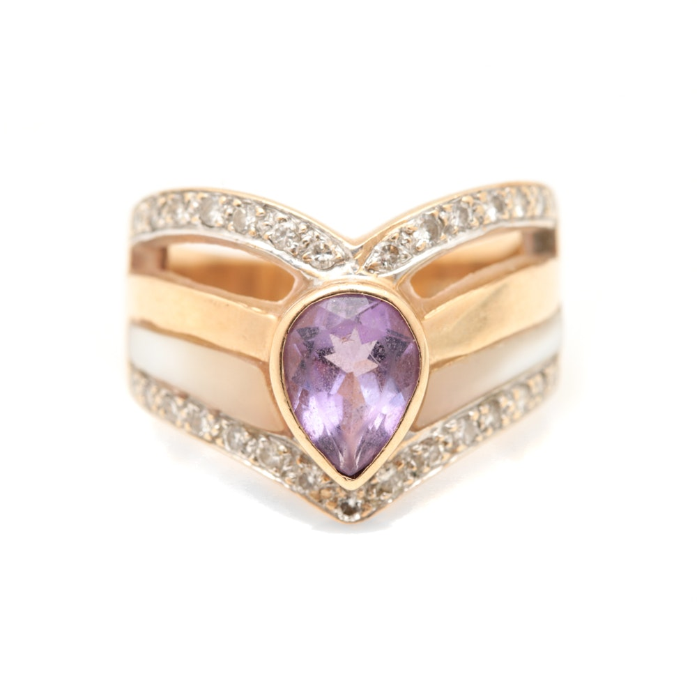 14K Yellow Gold Amethyst, Mother of Pearl and Diamond Ring