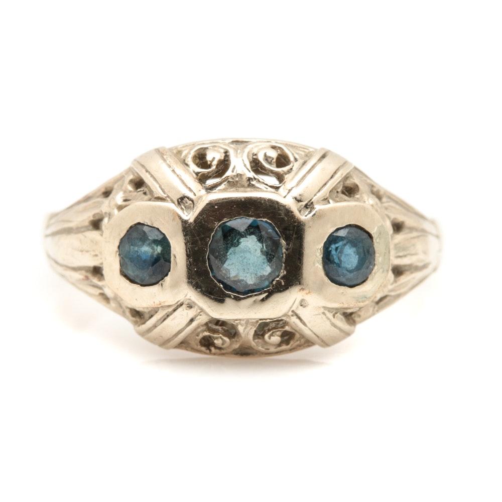 Art Deco 14K White Gold Sapphire Ring