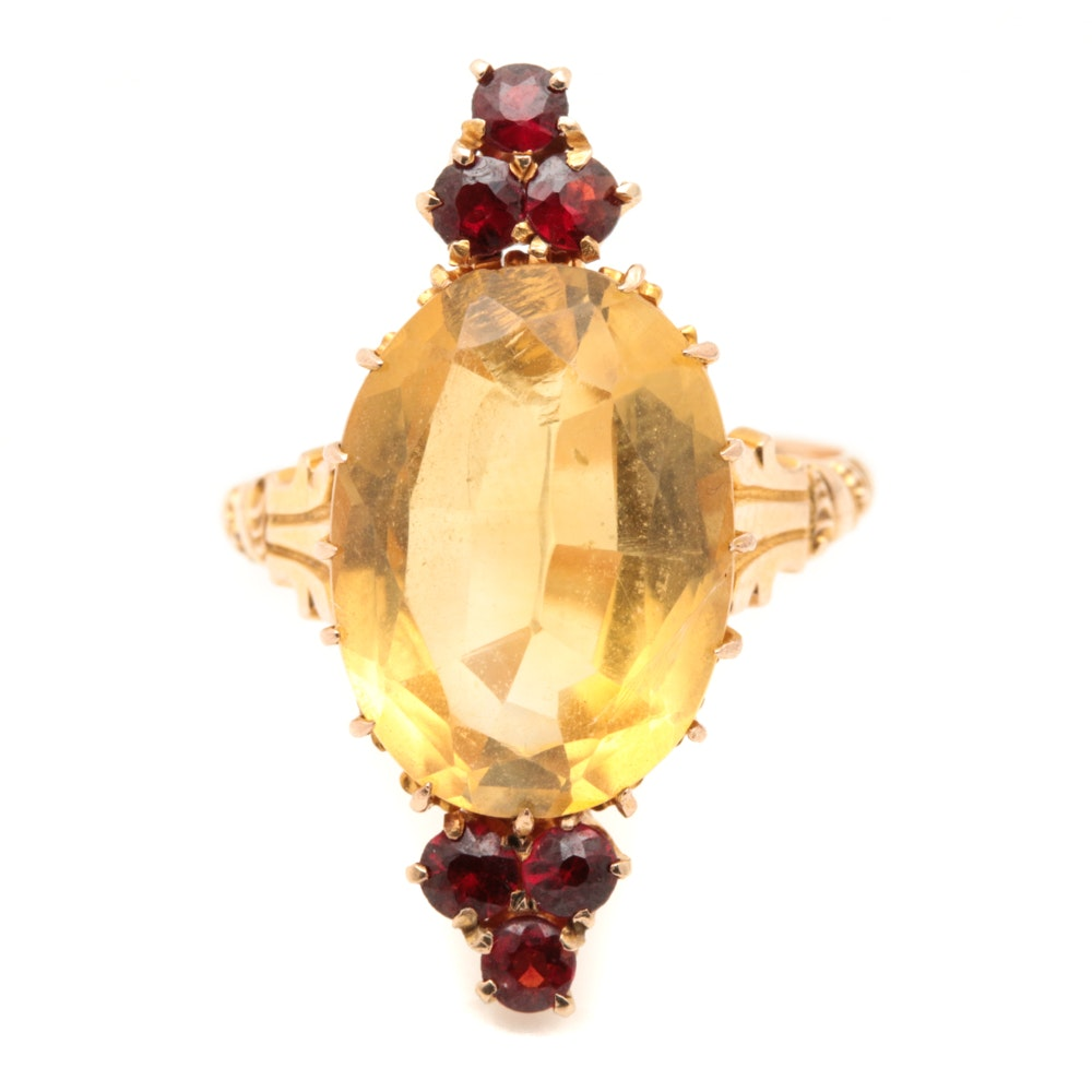 Victorian 10K Yellow Gold Citrine and Garnet Ring