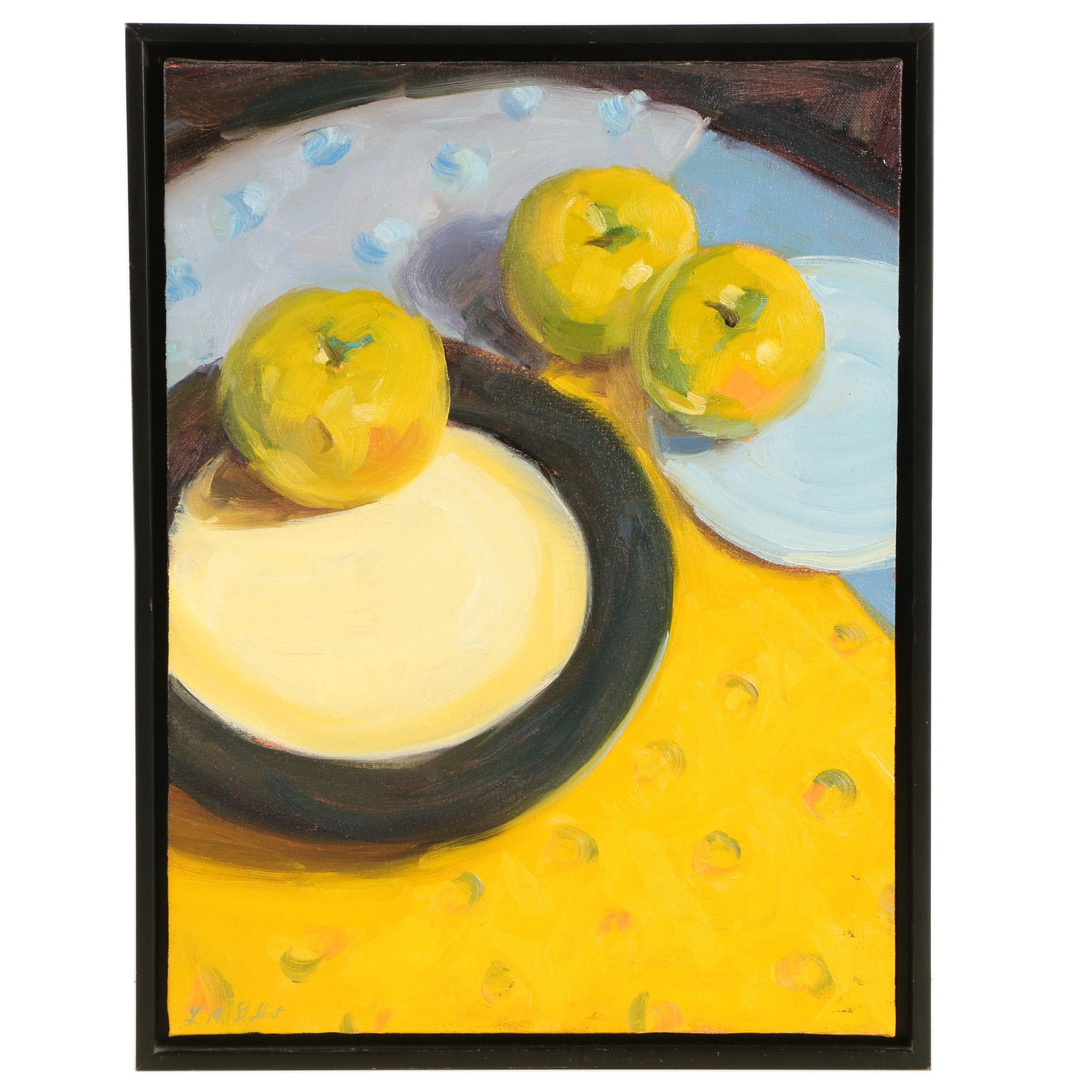 "Leslie McCallen Gilbert Oil Painting on Canvas ""Apples and Patterns"""