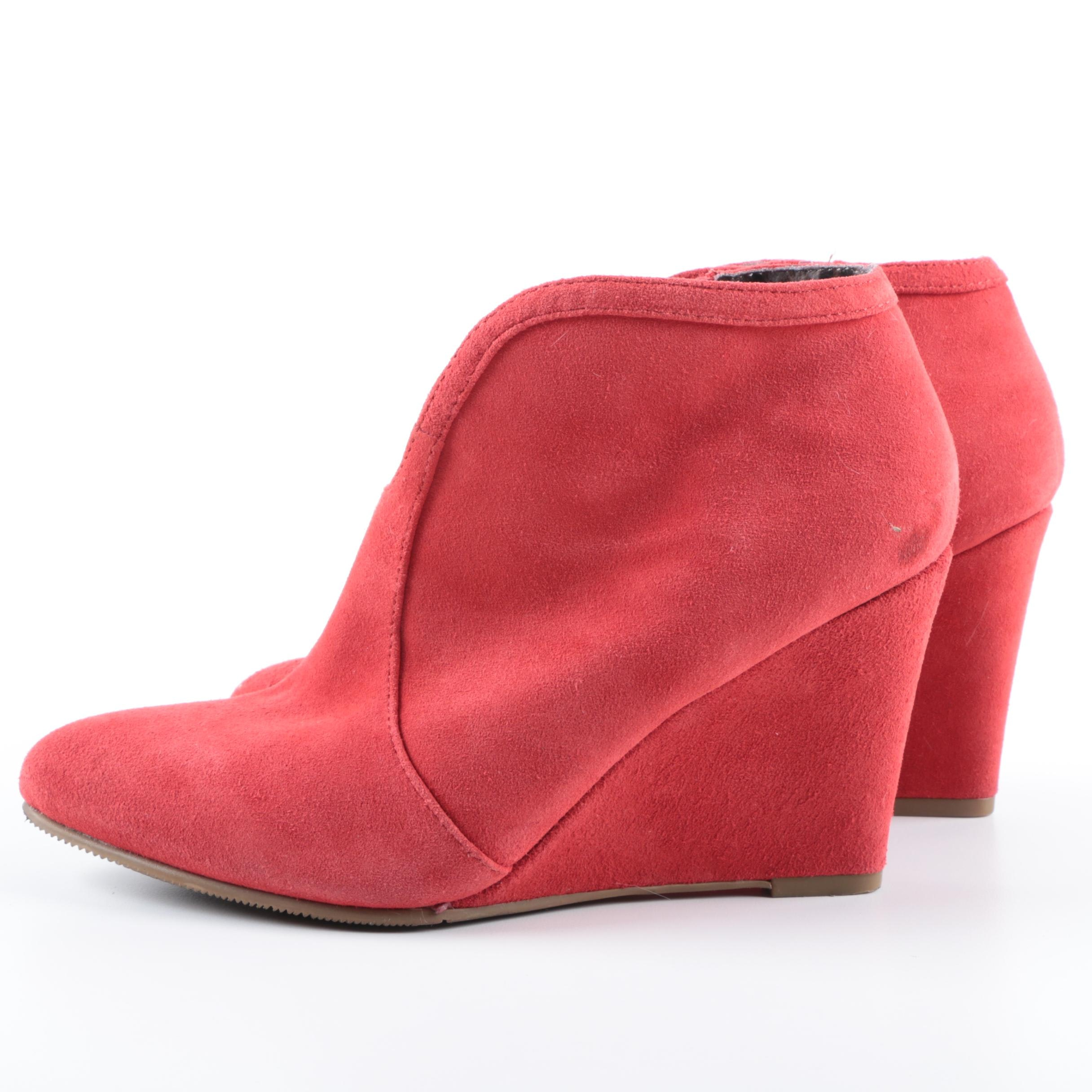 Women's Envy Lyka Red Suede Wedge Booties