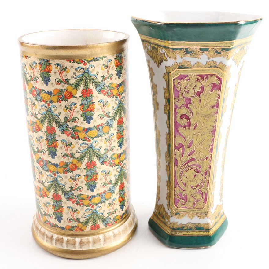 Andrea By Sadek Vase And A Gilded Ceramic Vase Ebth