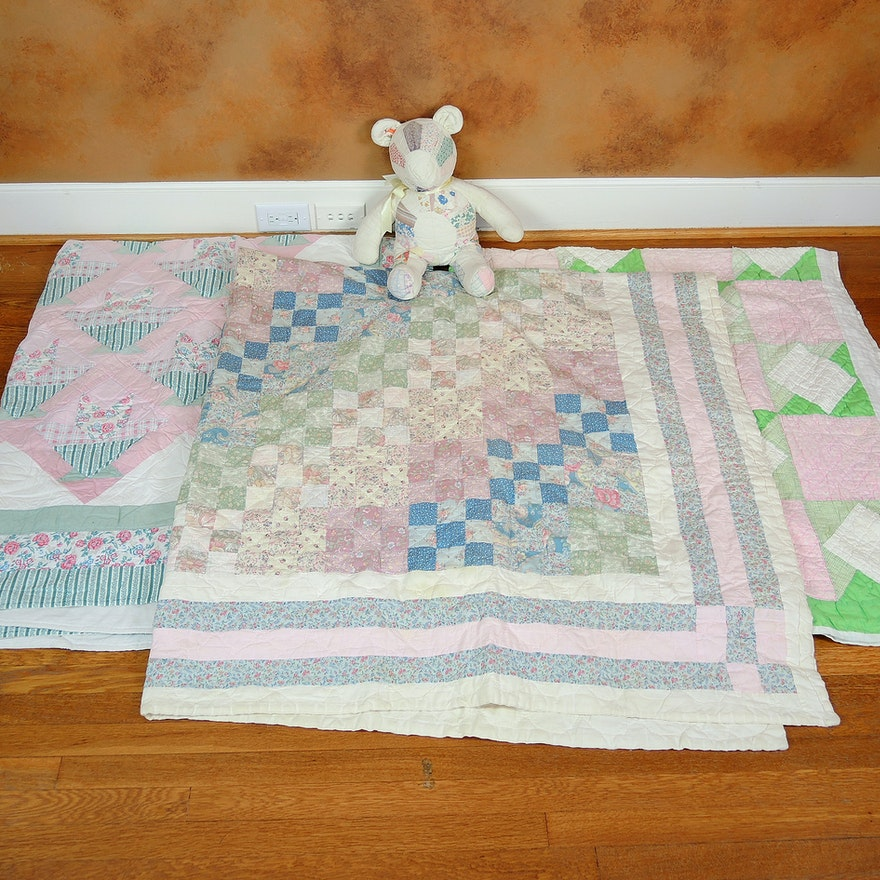 Vintage Handmade Quilts and Quilted Teddy Bear : EBTH : quilted bear hours - Adamdwight.com