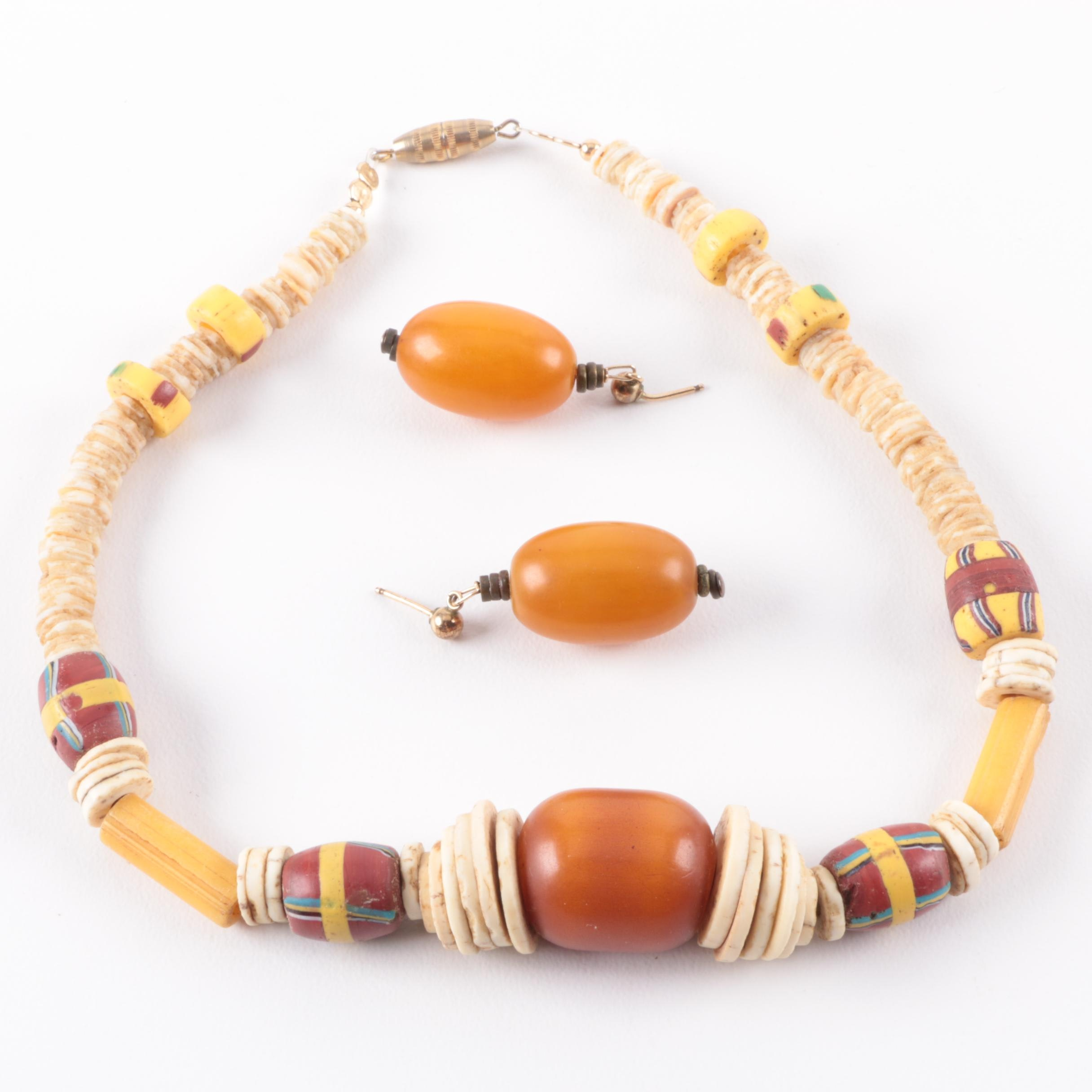 African Trade Bead Necklace and Earrings with Bakelite and Bone
