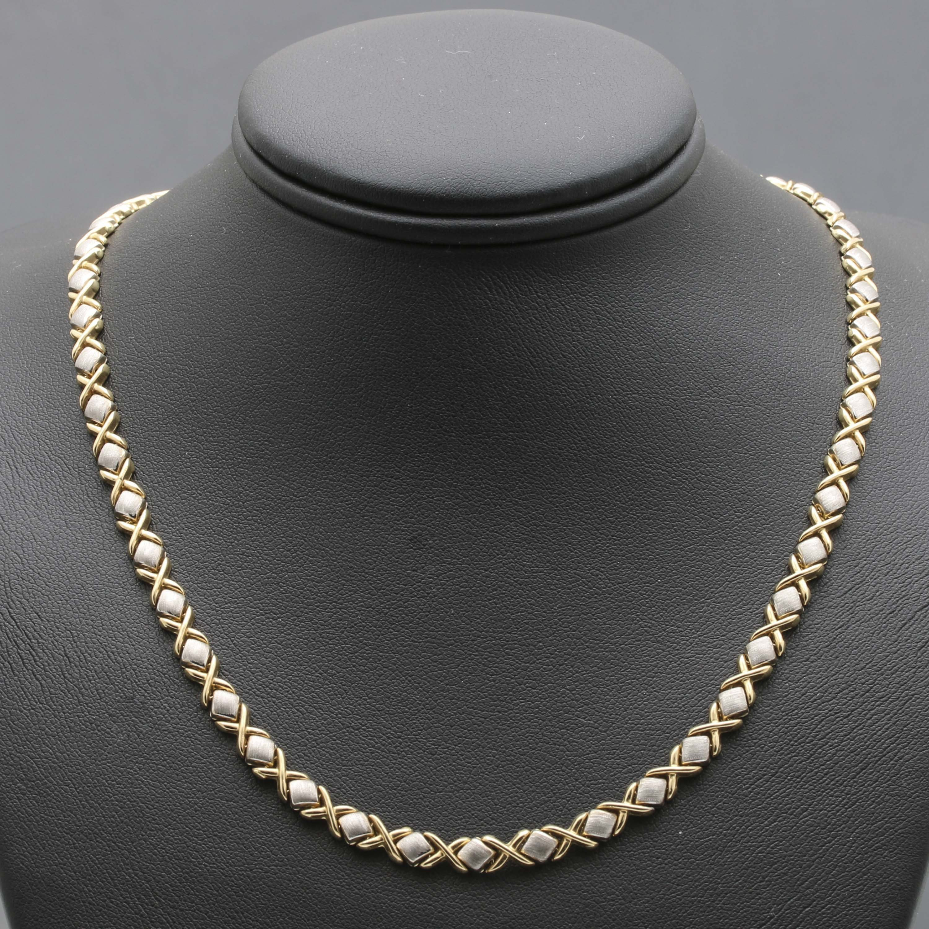 14K Yellow and White Gold Fancy Link Necklace
