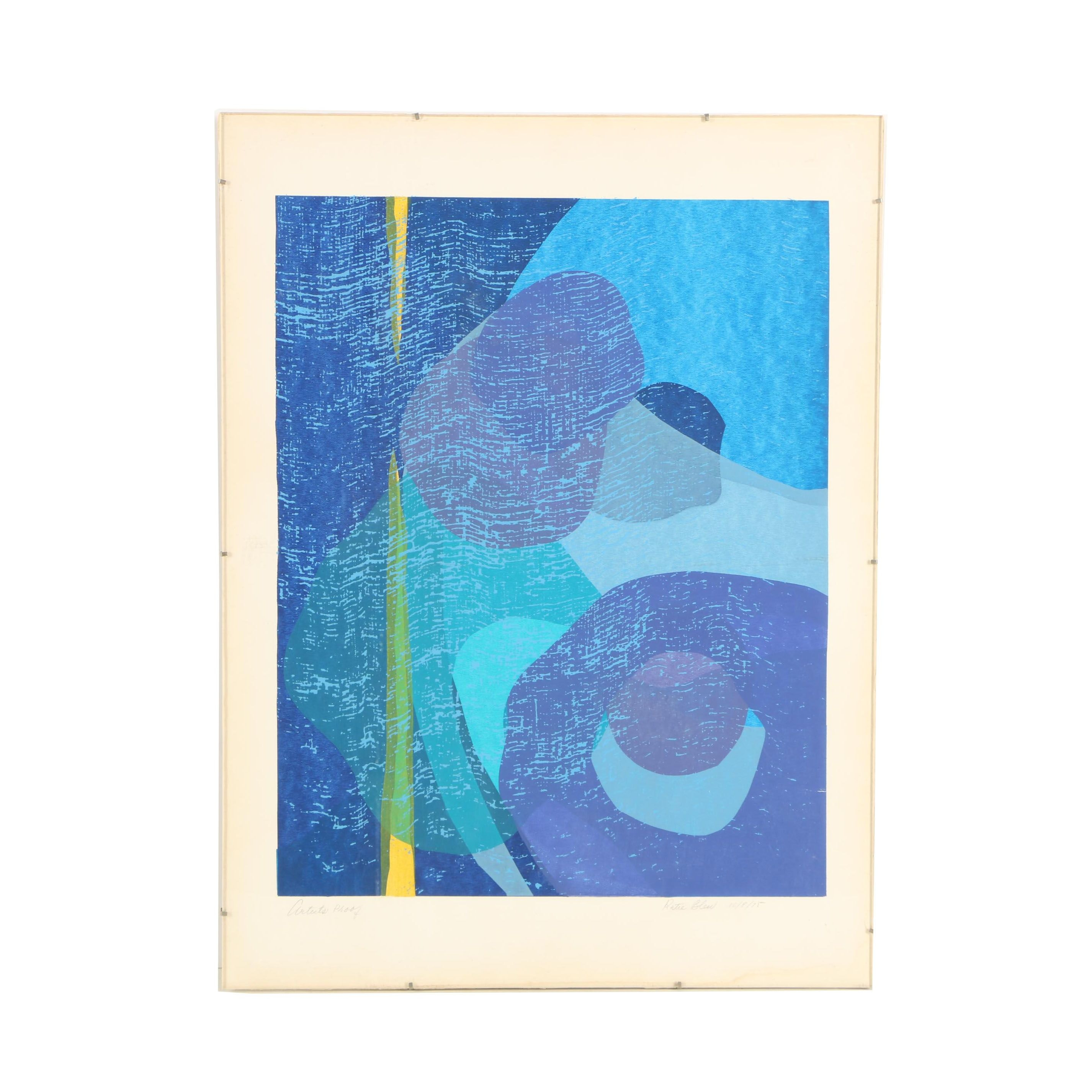 Katie Bleu Serigraph of an Abstract Composition