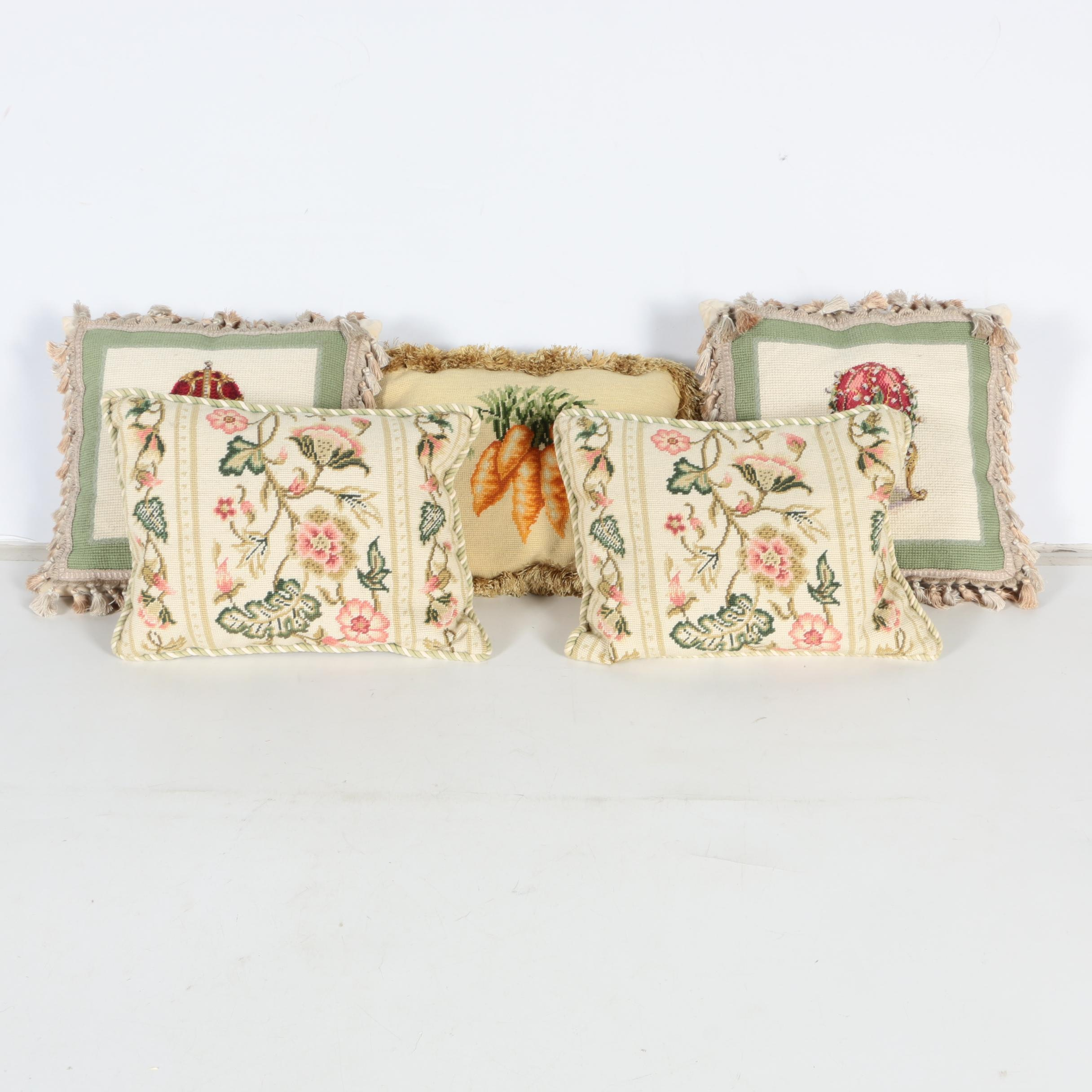 Collection of Katha Diddel Home Collection Handmade Needlepoint Pillows