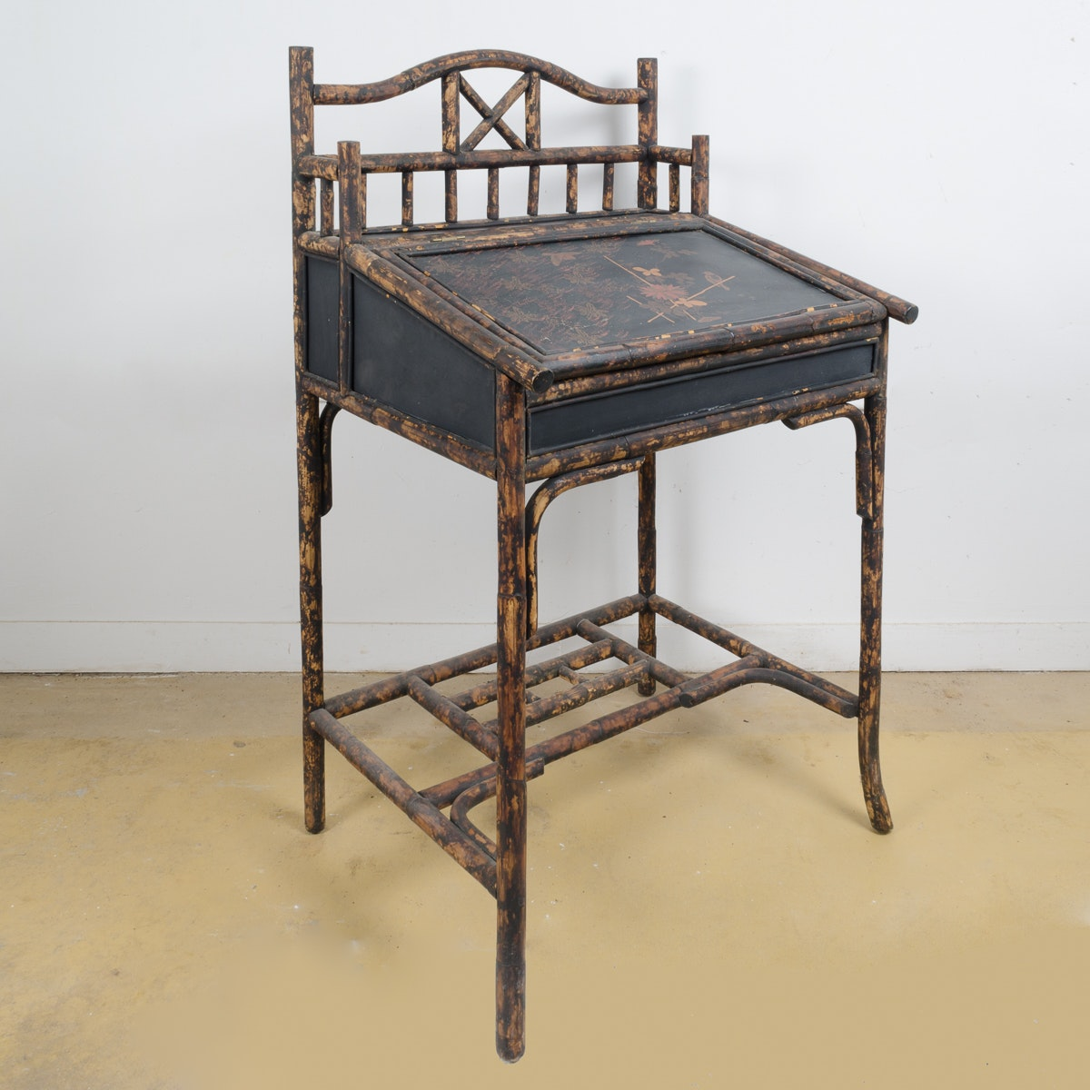 Antique English Bamboo Chinoiserie Writing Desk