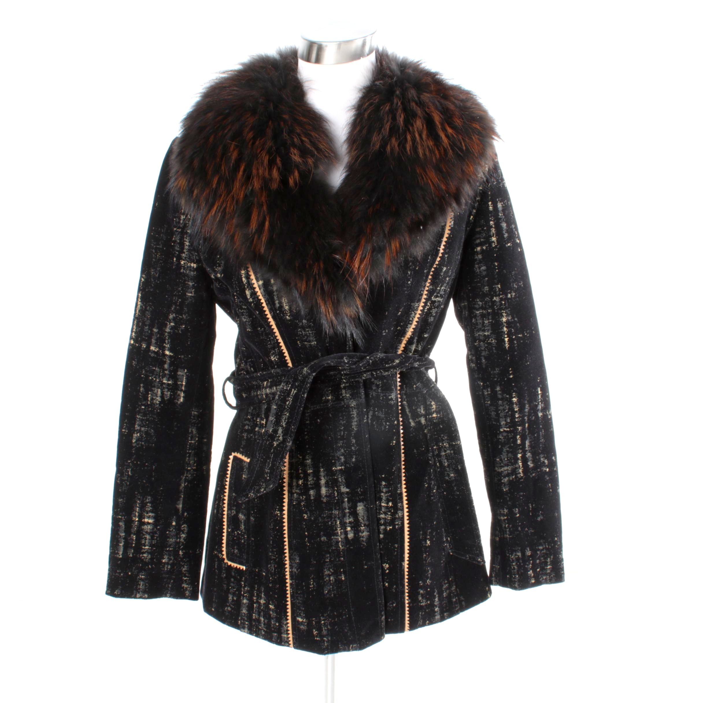 Women's Alberto Makali Jacket with Dyed Fox Fur Collar