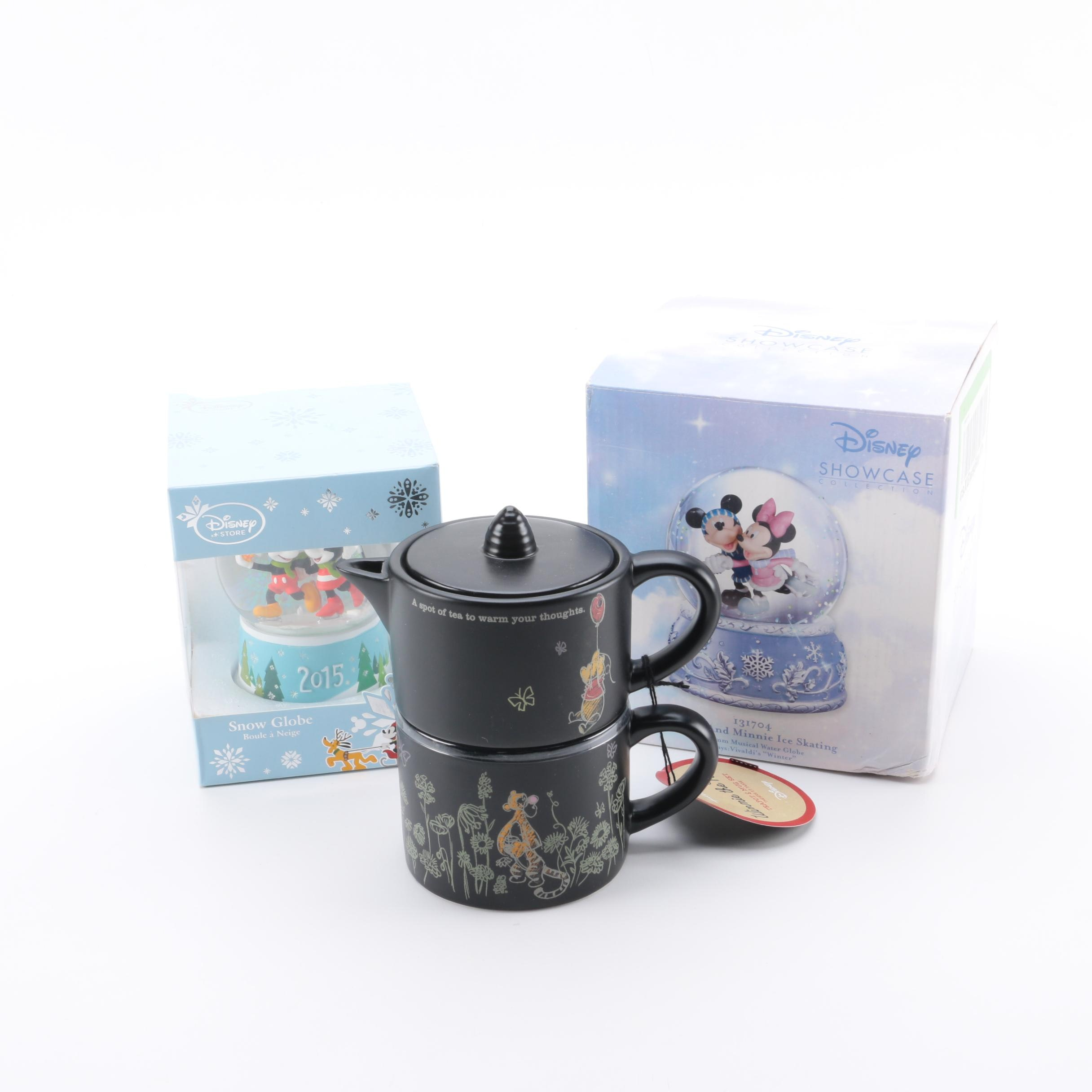 Disney Snow Globes and Hallmark Winnie the Pooh Tea for One Ceramic Teapot Set