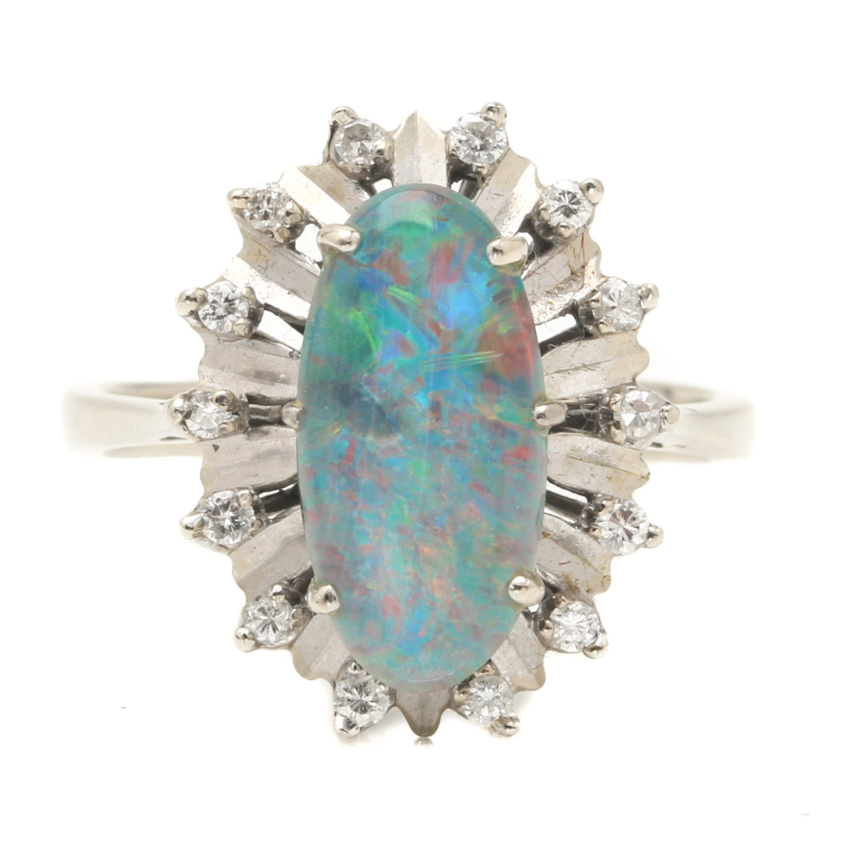 Circa 1950s 18K White Gold Opal Triplet and Diamond Ring