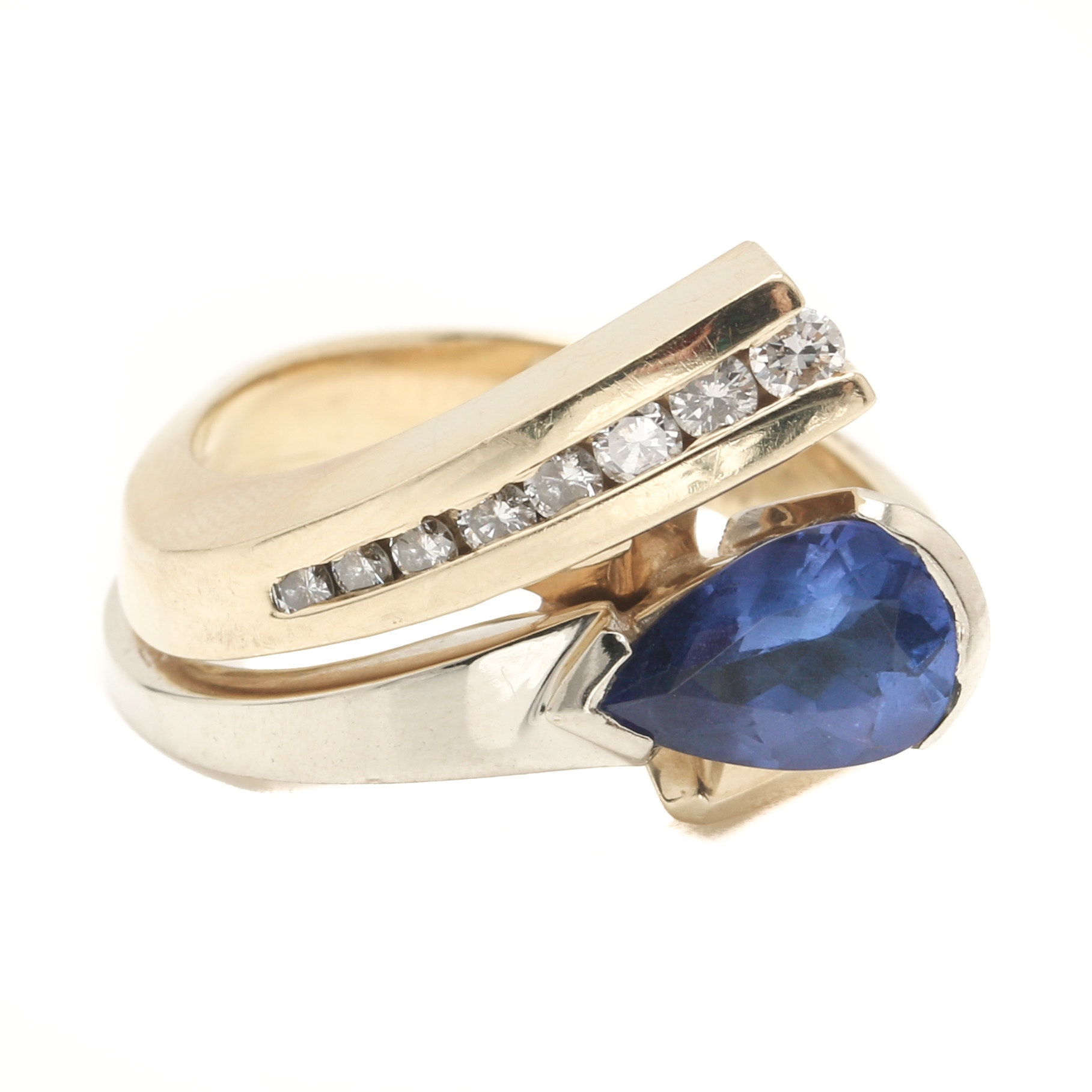 14K Two Tone Gold Tanzanite and Diamond Ring