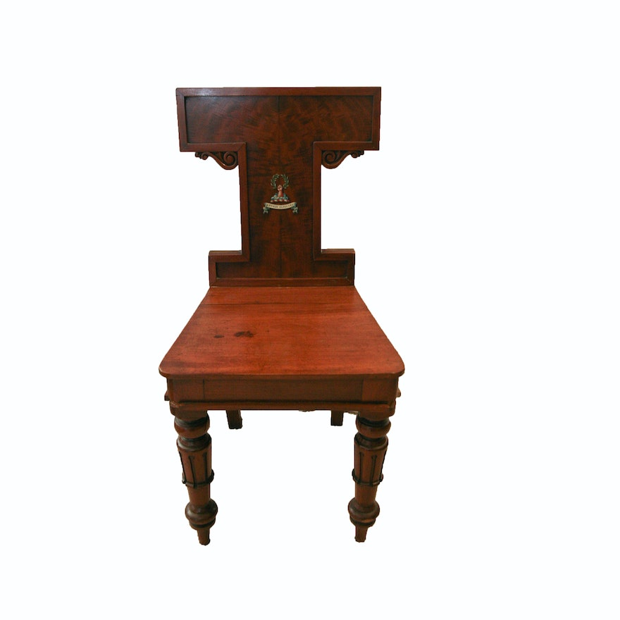 - Antique English William IV Mahogany Hall Chair With Painted Heraldry