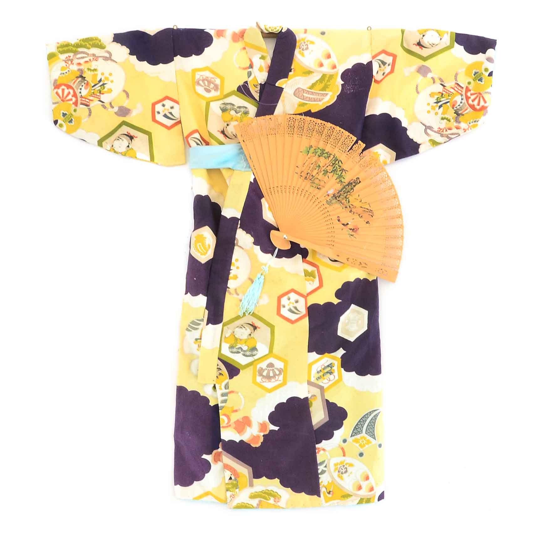 Display of Children's Japanese Silk Kimono and Hand Held Fan