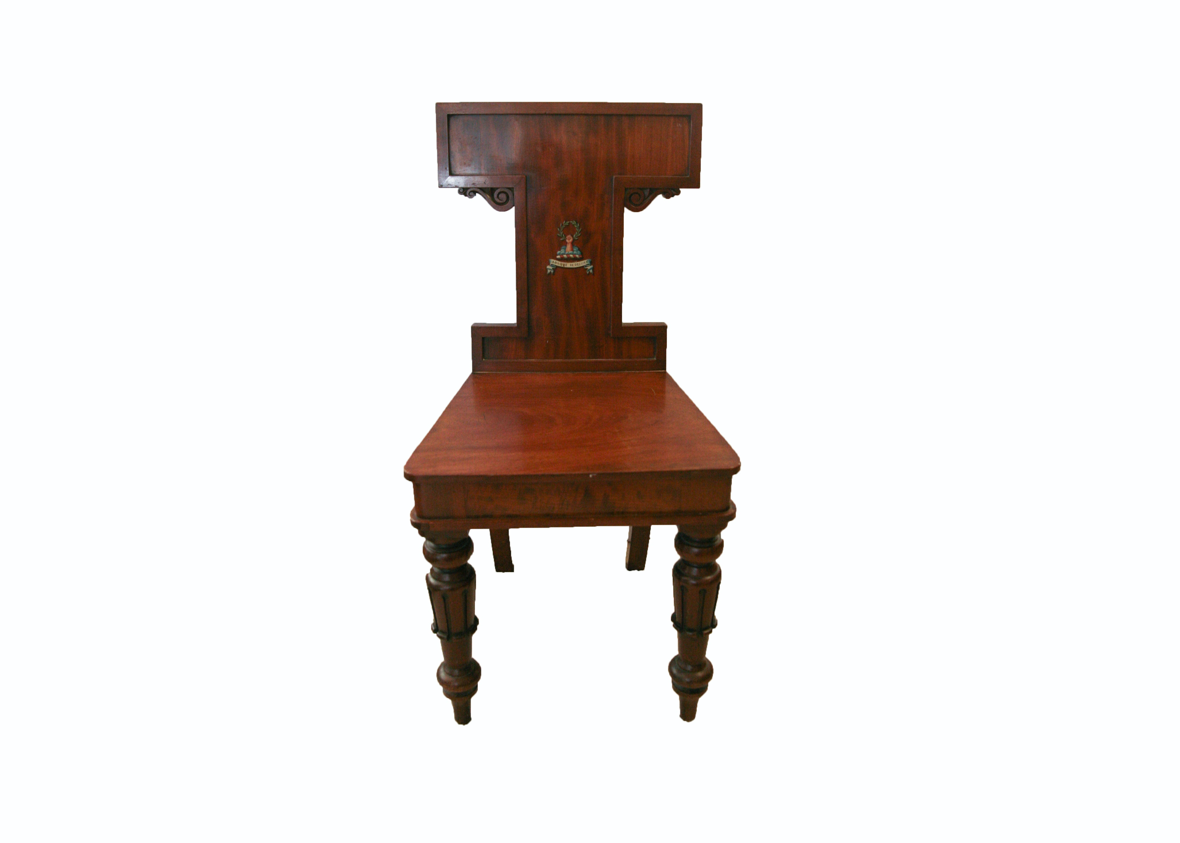 Antique English William IV Mahogany Hall Chair with Painted Heraldry