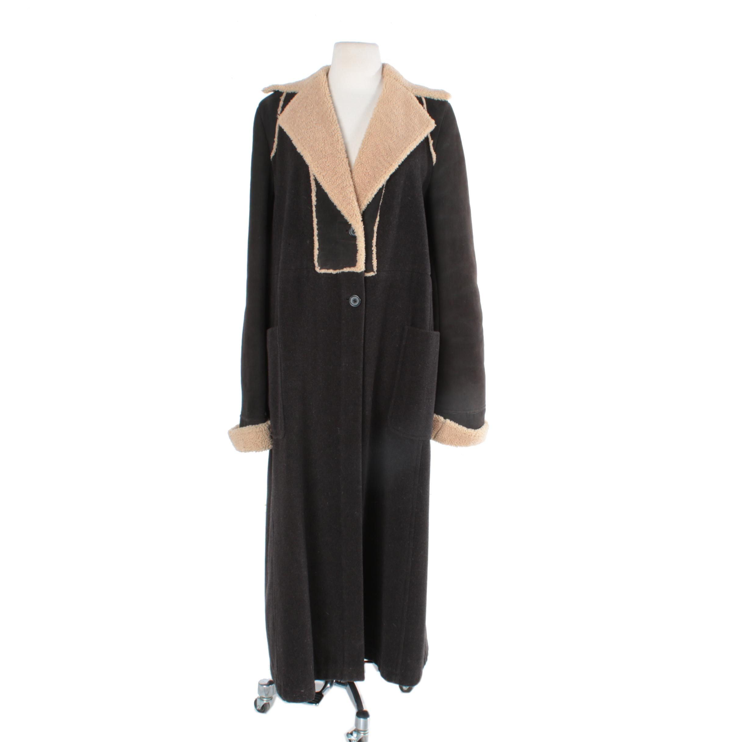 Dries Van Noten Brown Wool and Faux Shearling Coat