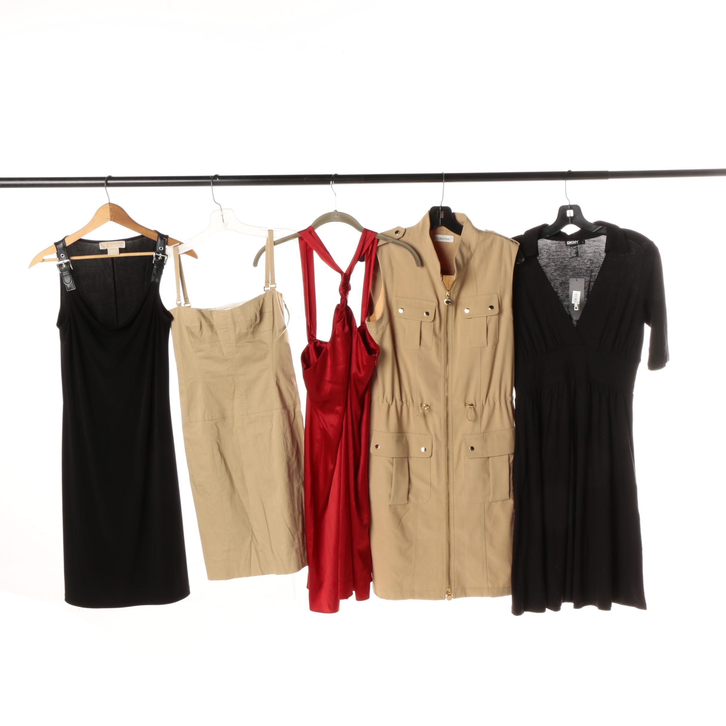 Women's Red, Black and Tan Dresses Including Calvin Klein and DKNY