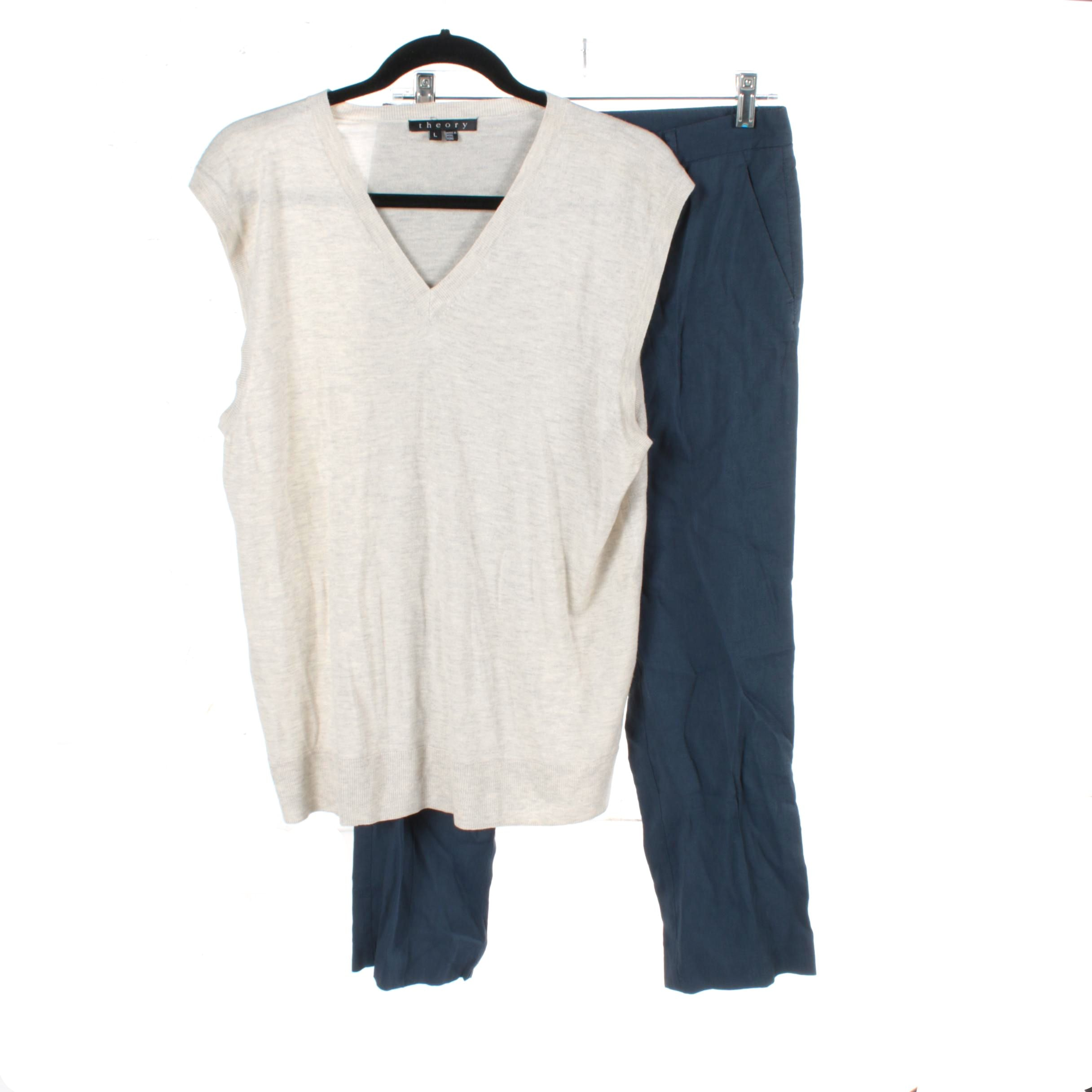 Women's Theory Cream and Navy Separates