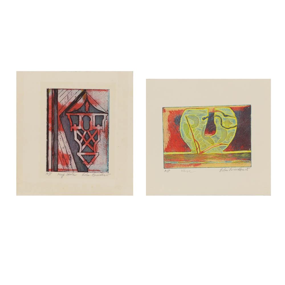"""Two Lola Breidbart Etchings """"Vase"""" and """"Key Hole"""""""