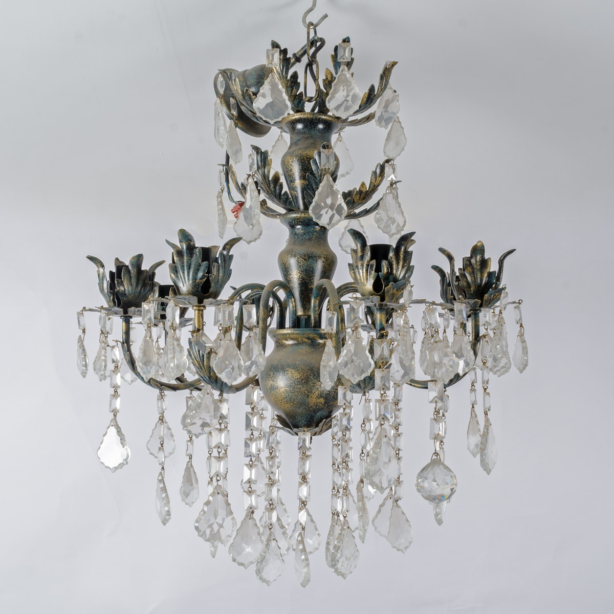 Eight Arm Chandelier with Glass and Crystal Prisms