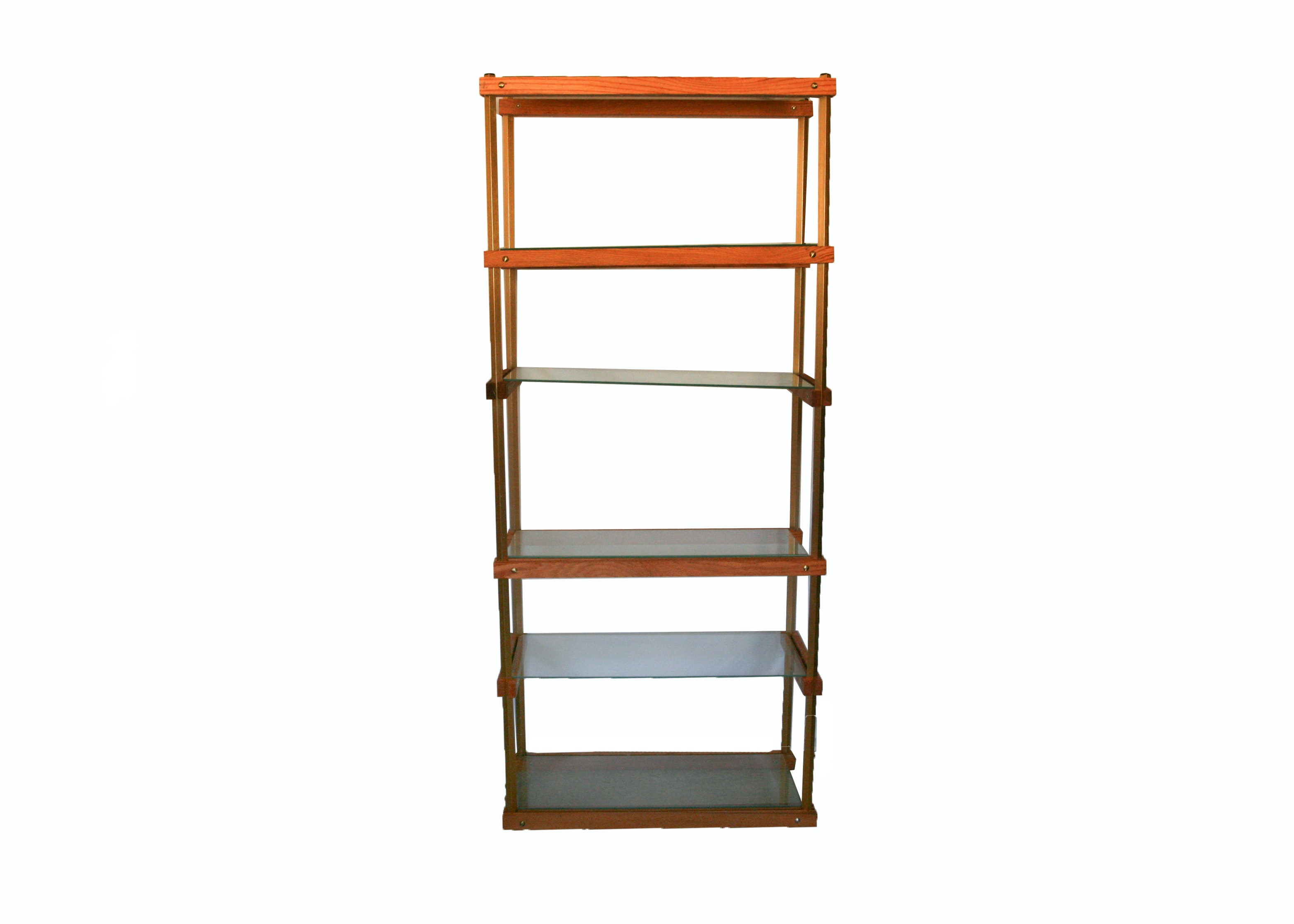PPG Wood and Glass Shelving Unit