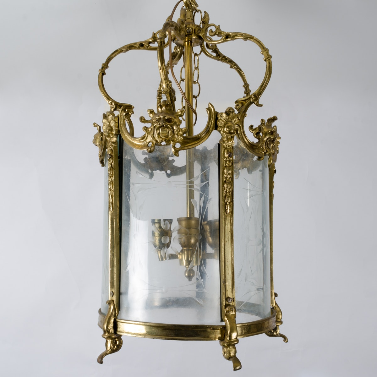 Baroque Style Brass and Glass Chandelier