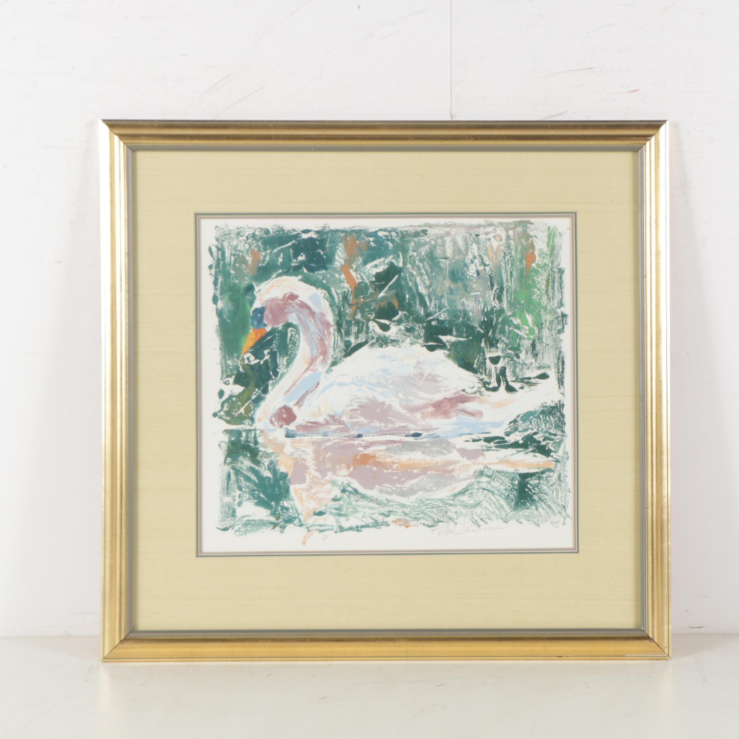 Ralph Thurman Relief Print of a Swan