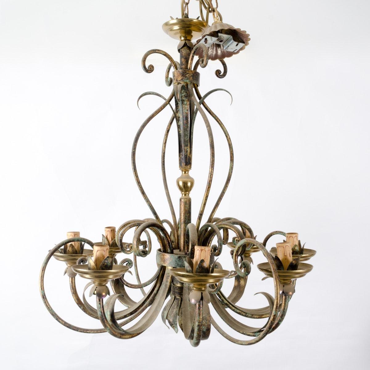 Floral Motif Bronze Tone Metal Chandelier