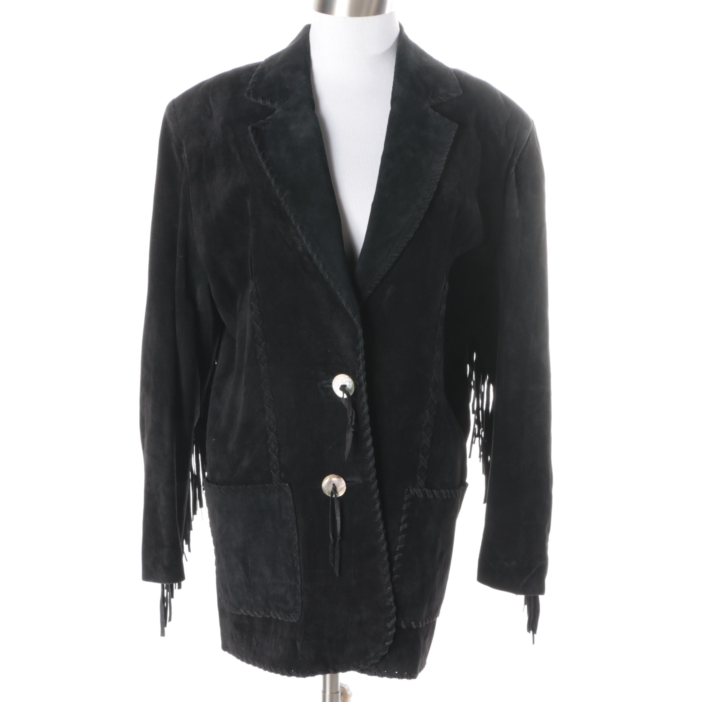 Women's Vintage Team Work Black Suede Jacket