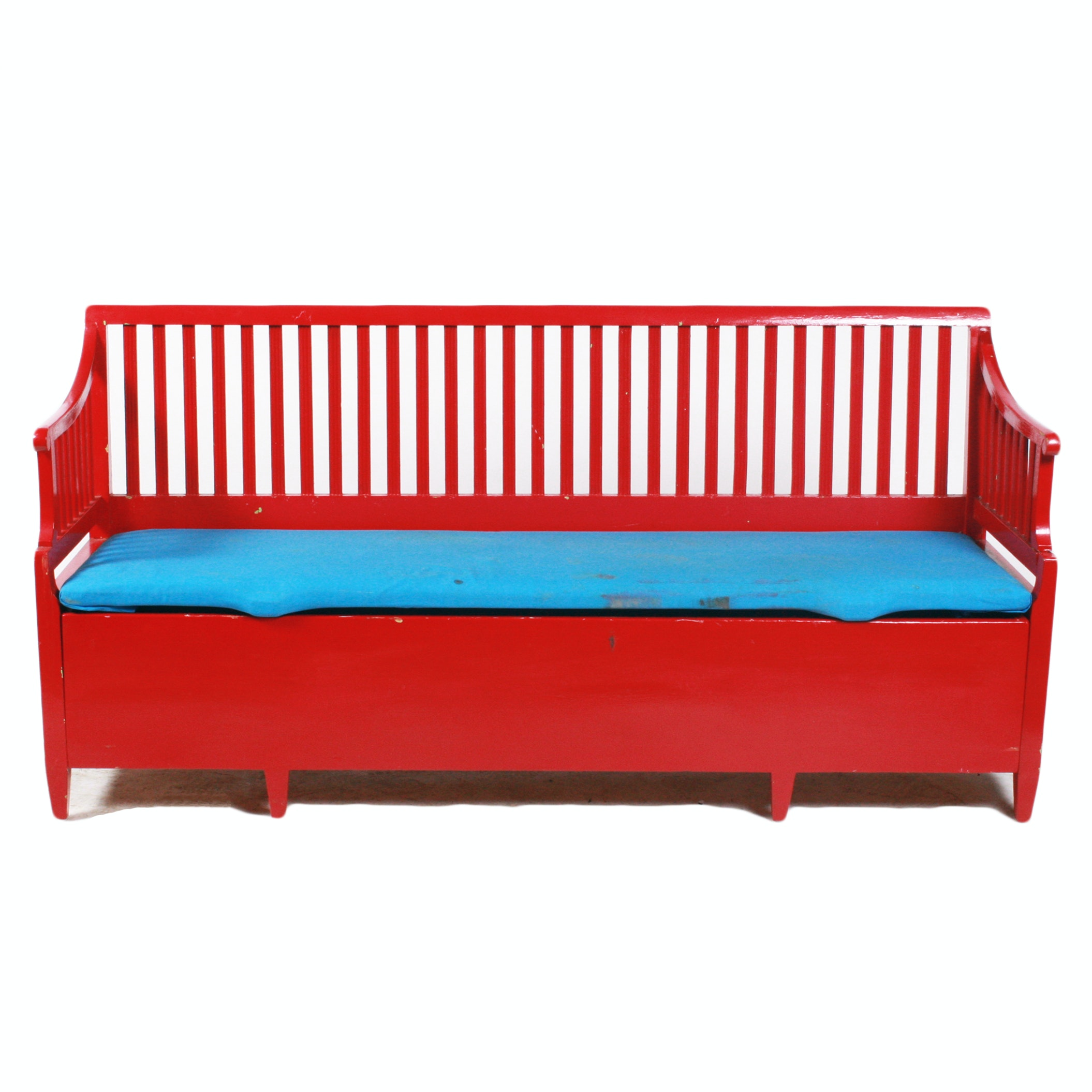 Vintage Red Enamel Painted Knotty Pine Bench
