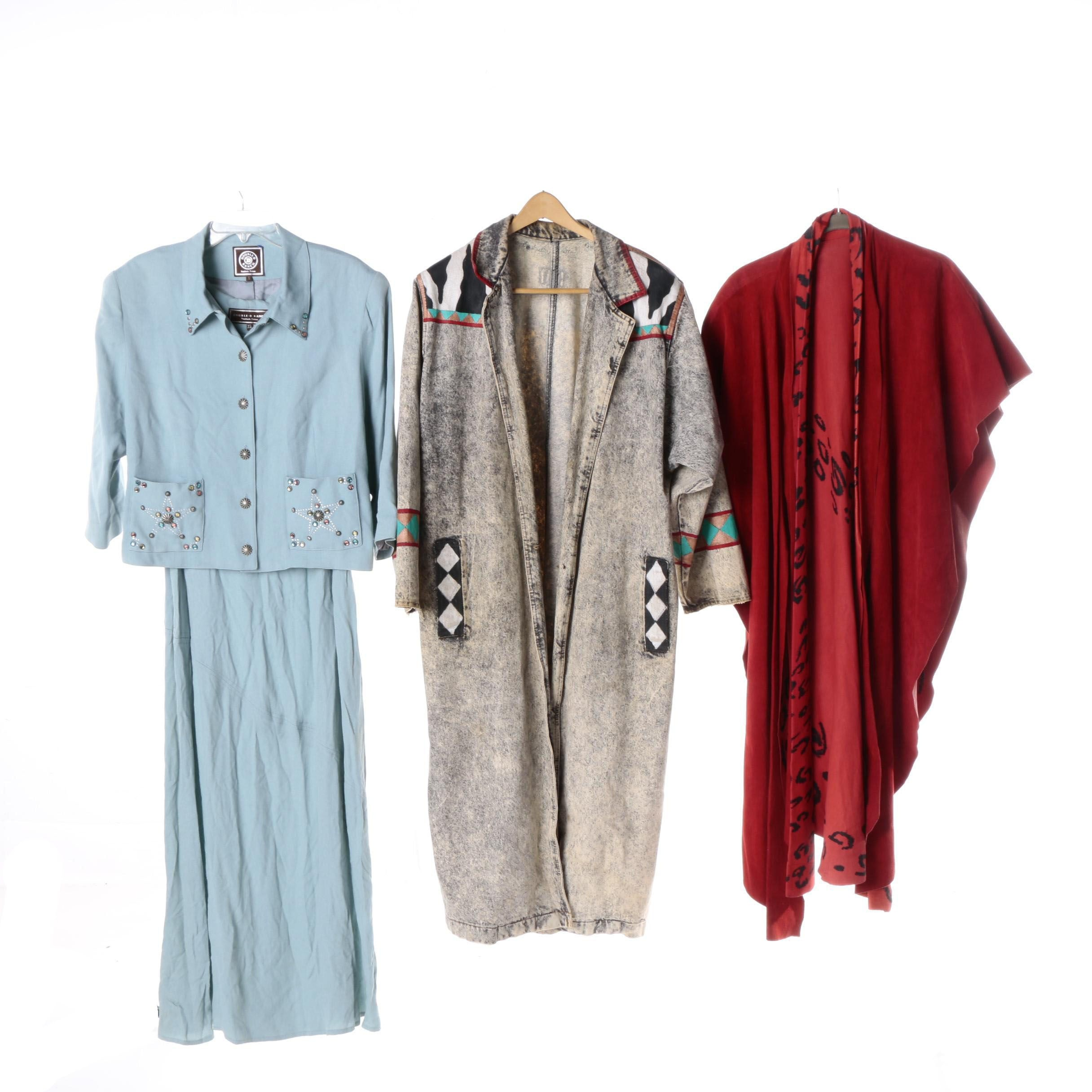 Women's Western Style Duster, Poncho and Double-D Ranch Dress Ensemble