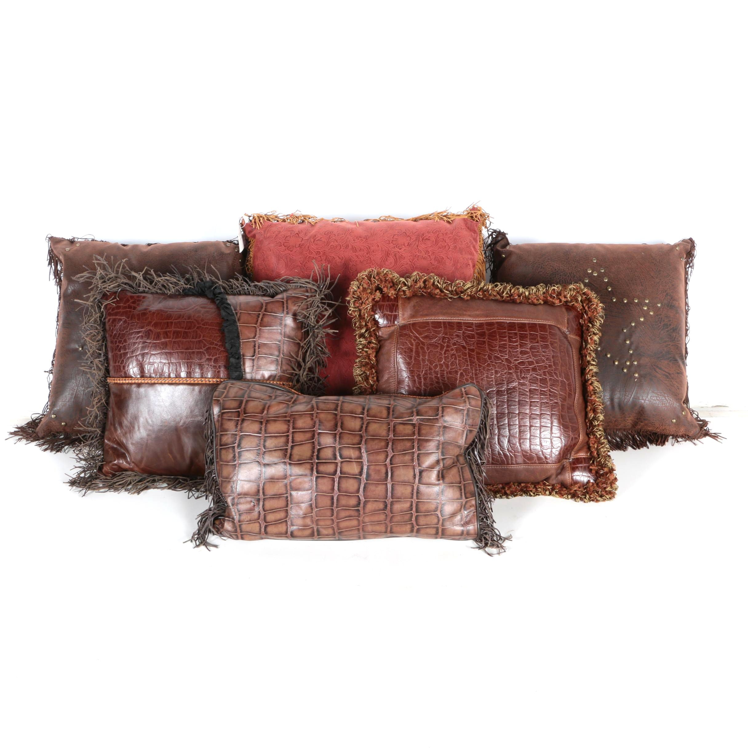 Decorative Throw Pillows with Faux Leather and Fringe