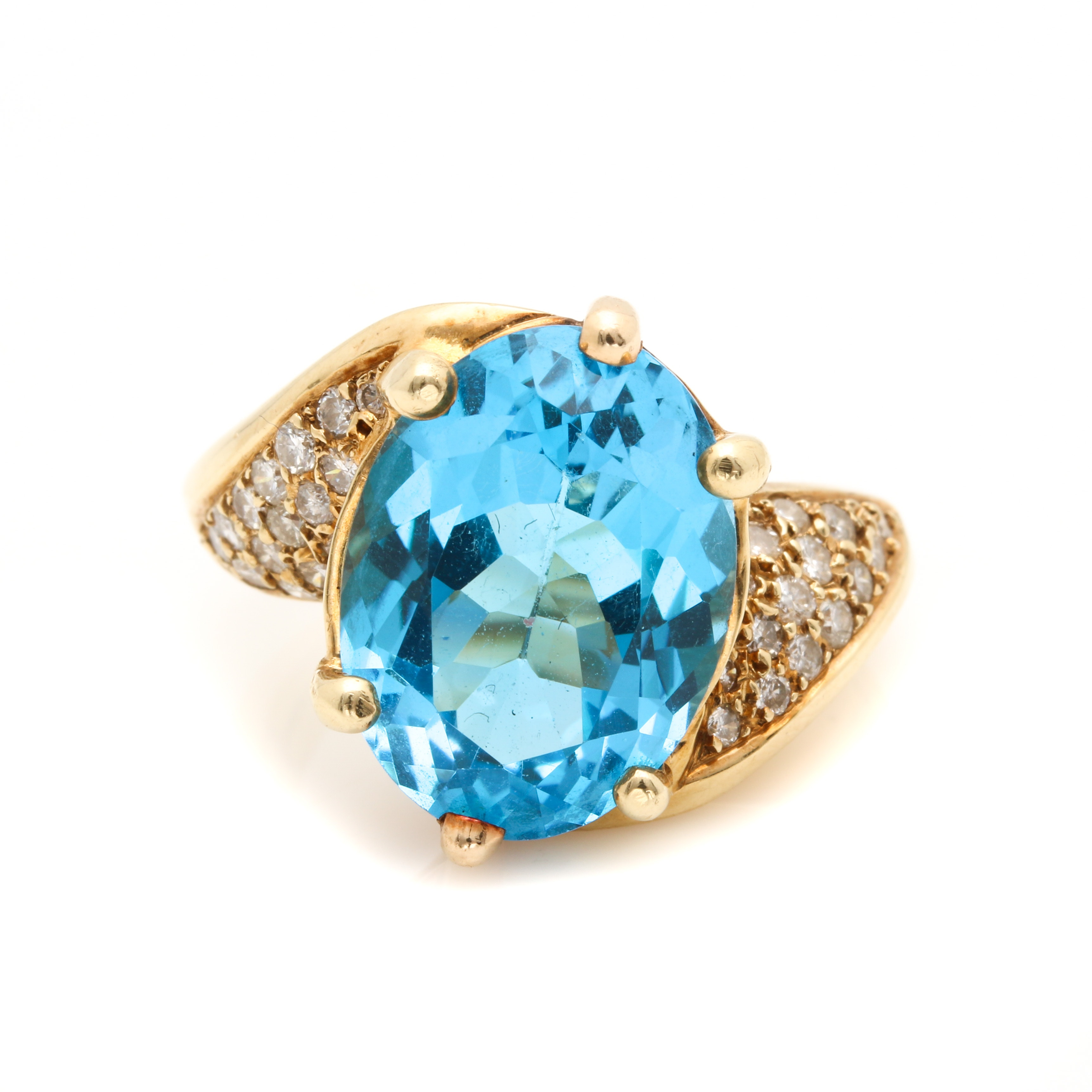 14K Yellow Gold 10.27 CT Blue Topaz and Diamond Ring