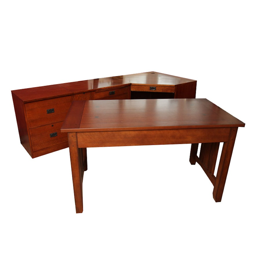 of made mission sawn id pieces desks large quarter at is sale executive a furniture style storage from oak for the l f desk gorham case by