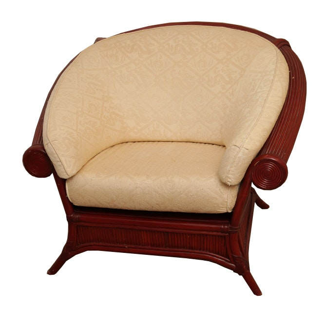 Maitland Smith Wood and Rattan Arm Chair with Cushions